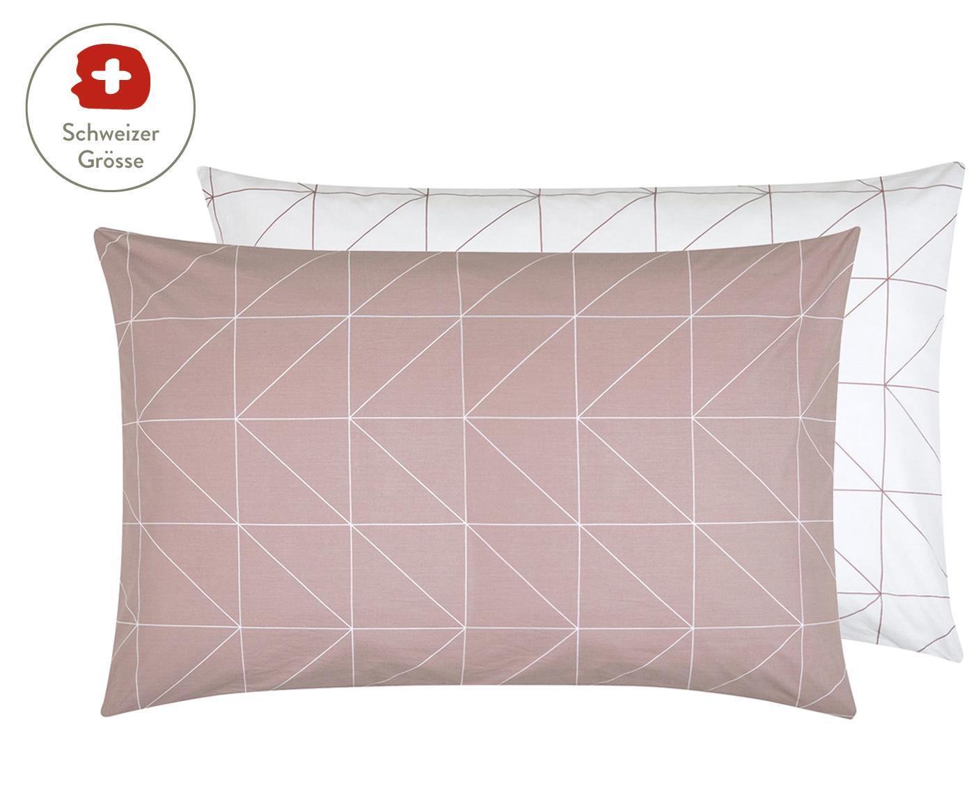 Baumwoll-Wendekissenbezug Marla mit grafischem Muster, Webart: Renforcé Fadendichte 144 , Mauve, Weiss, 65 x 100 cm