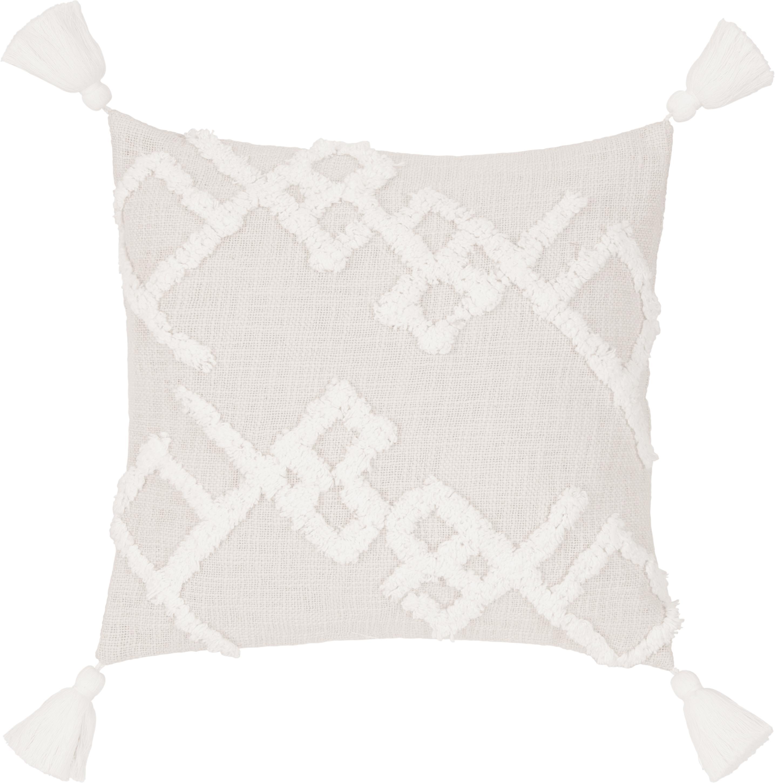 Funda de cojín texturizada Tikki, Algodón, Beige, An 40 x L 40 cm