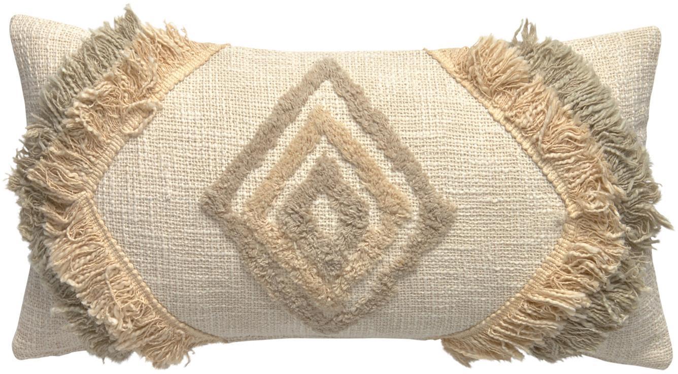 Boho kussenhoes Joana met decoratieve franjes, 100% katoen, Beige, taupe, saliegroen, 30 x 60 cm