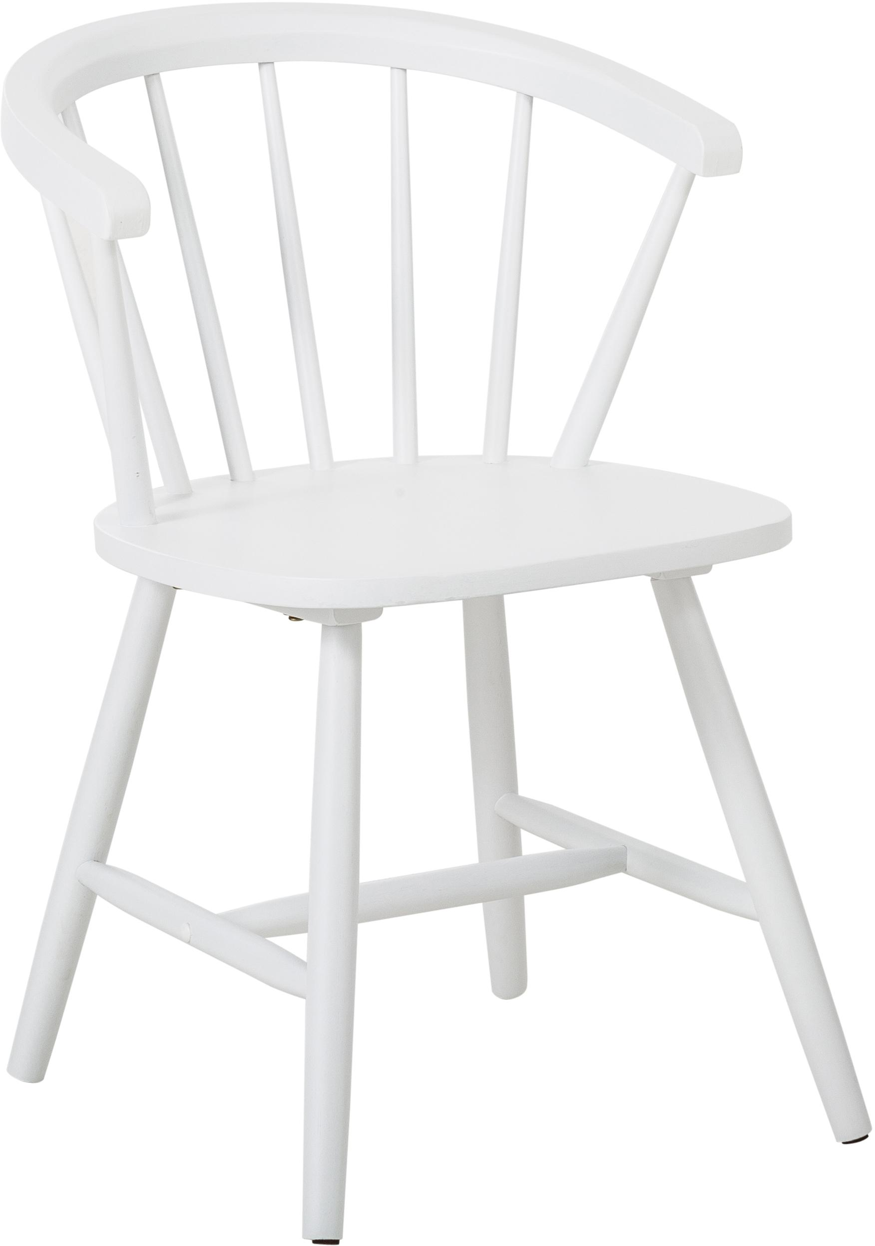 Krzesło z podłokietnikami z drewna Megan, 2 szt., Drewno kauczukowe, lakierowane, Biały, S 53 x G 52 cm