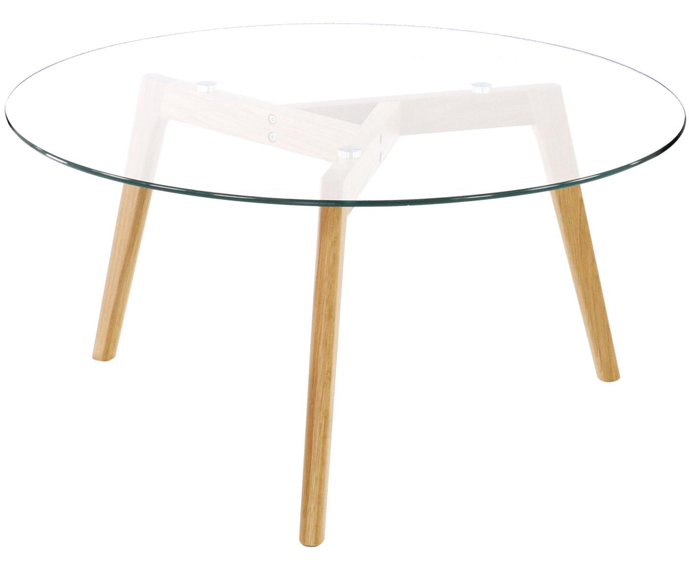Mesa de centro redonda Bloom, tablero de cristal, Patas: madera de roble aceitada, Tablero: vidrio, Transparente, Ø 90 x Al 40 cm