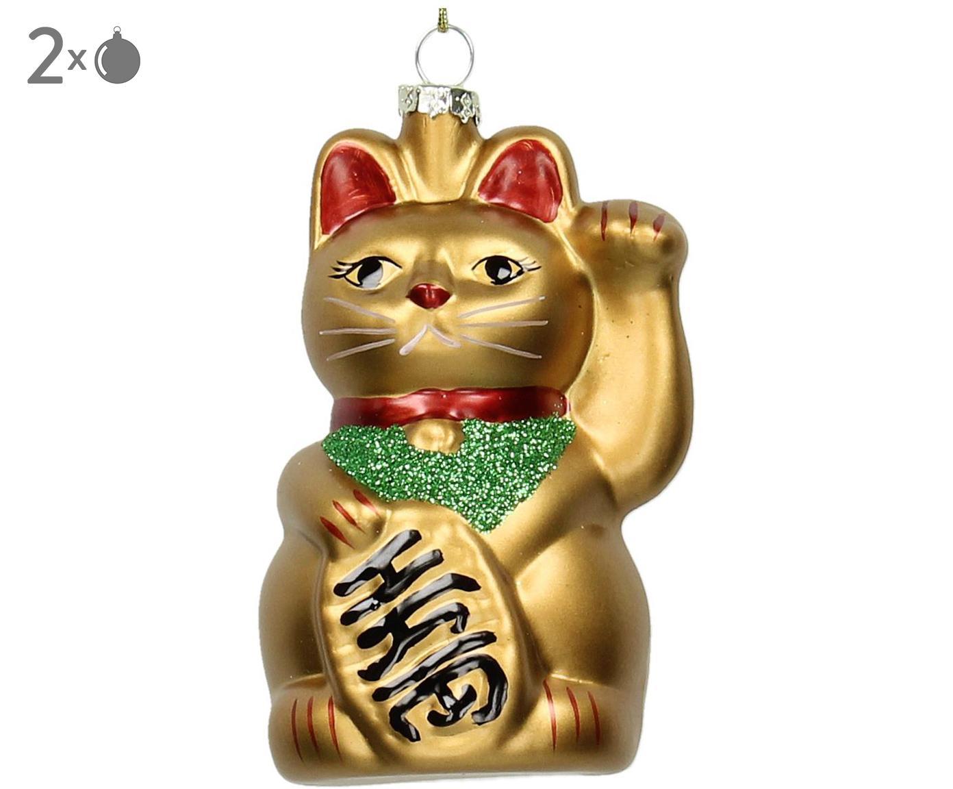 Baumanhänger Cat, 2 Stück, Goldfarben, Grün, Rot, Schwarz, Ø 6 x H 11 cm