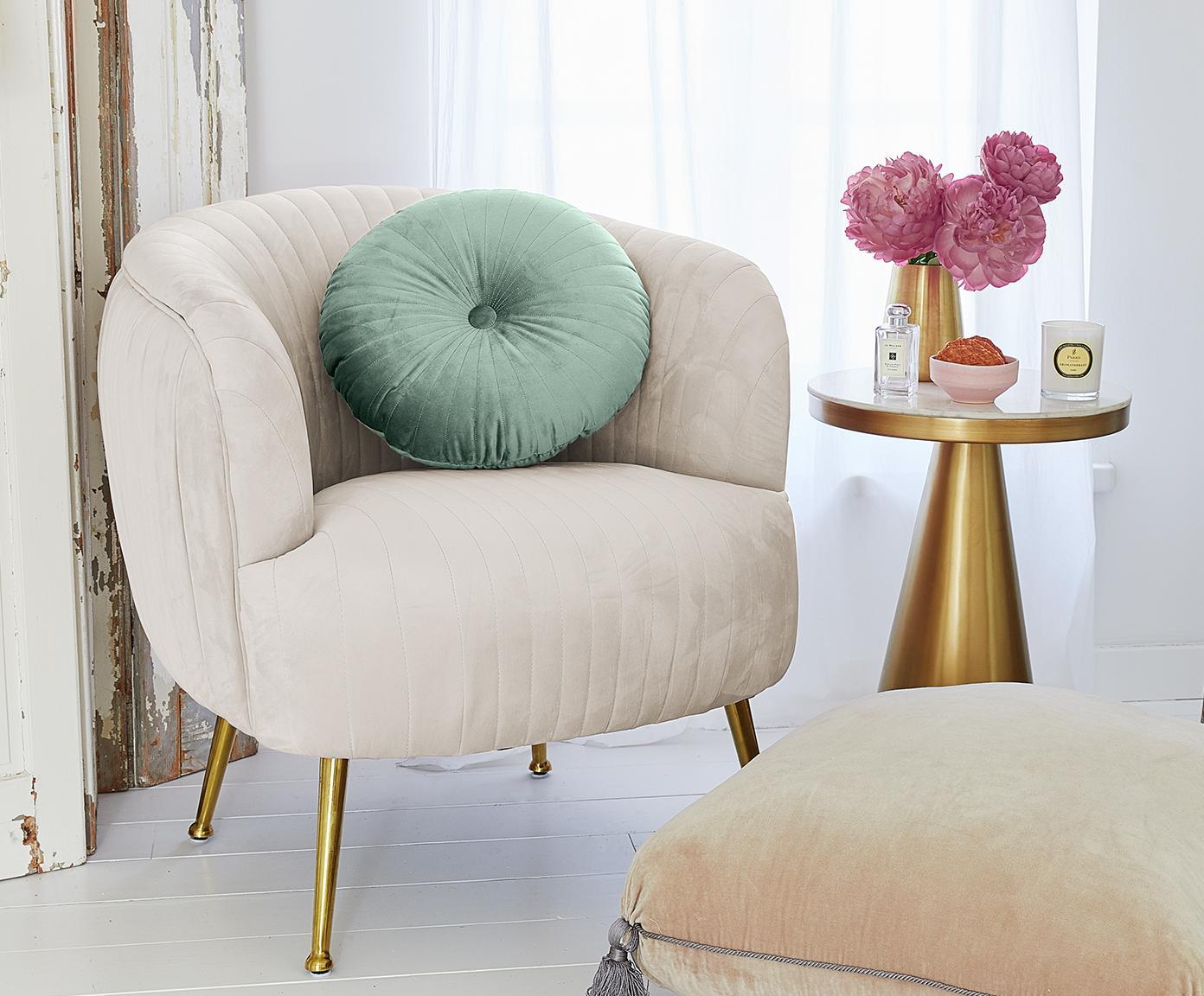 Rundes glänzendes Samt-Kissen Monet, mit Inlett, Bezug: 100% Polyestersamt, Mintgrün, Ø 40 cm