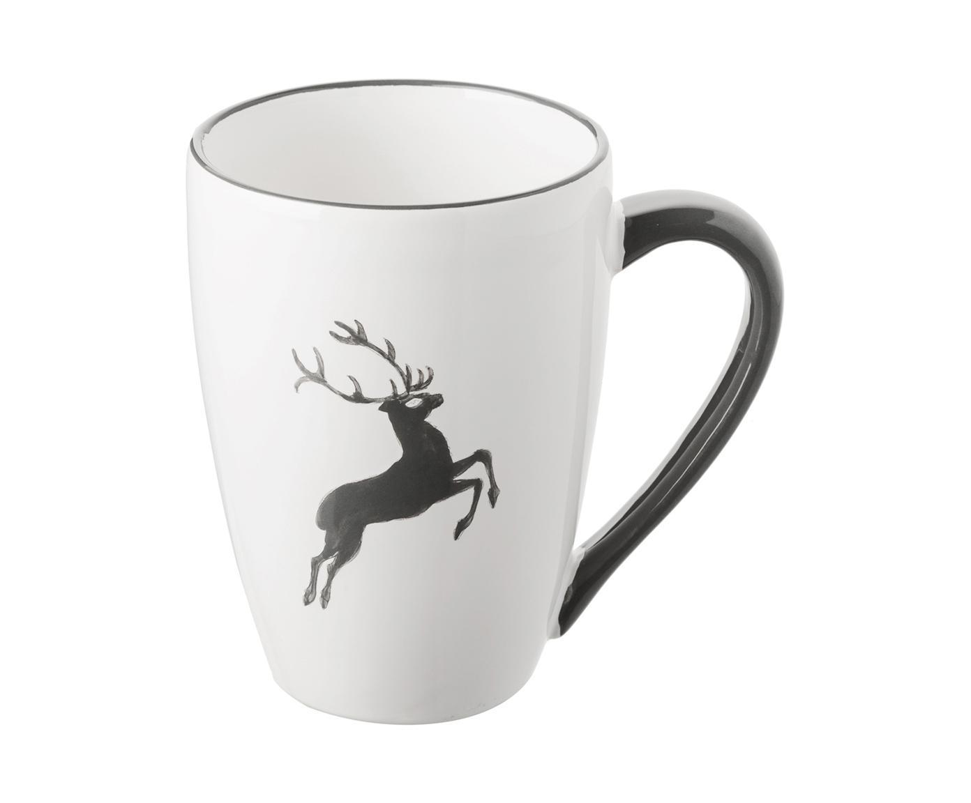 Tasse Gourmet Grauer Hirsch, Keramik, Grau,Weiß, 300 ml