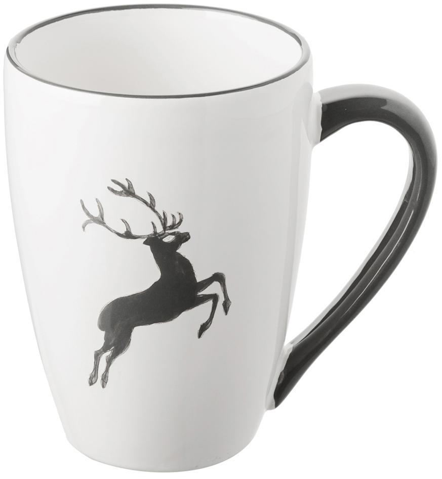 Handbemalte Tasse Gourmet Grauer Hirsch, Keramik, Grau,Weiß, 300 ml