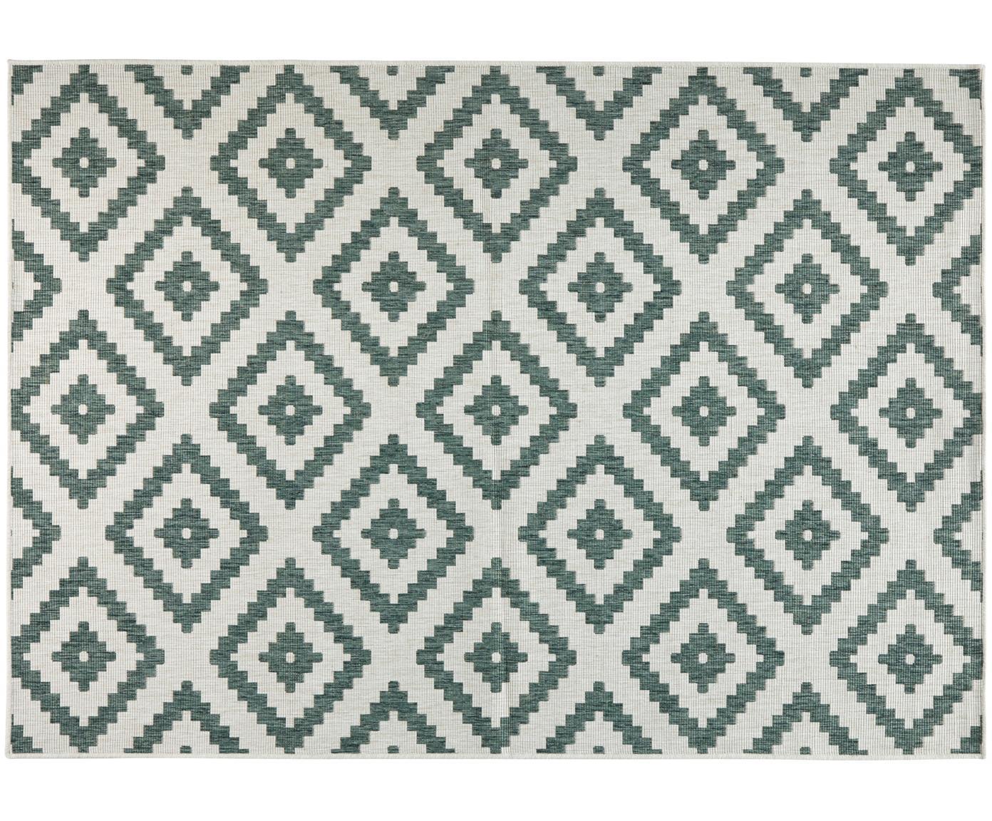 Dwustronny dywan wewnętrzny/zewnętrzny Malta, Zielony, odcienie kremowego, S 80 x D 150 cm (Rozmiar XS)