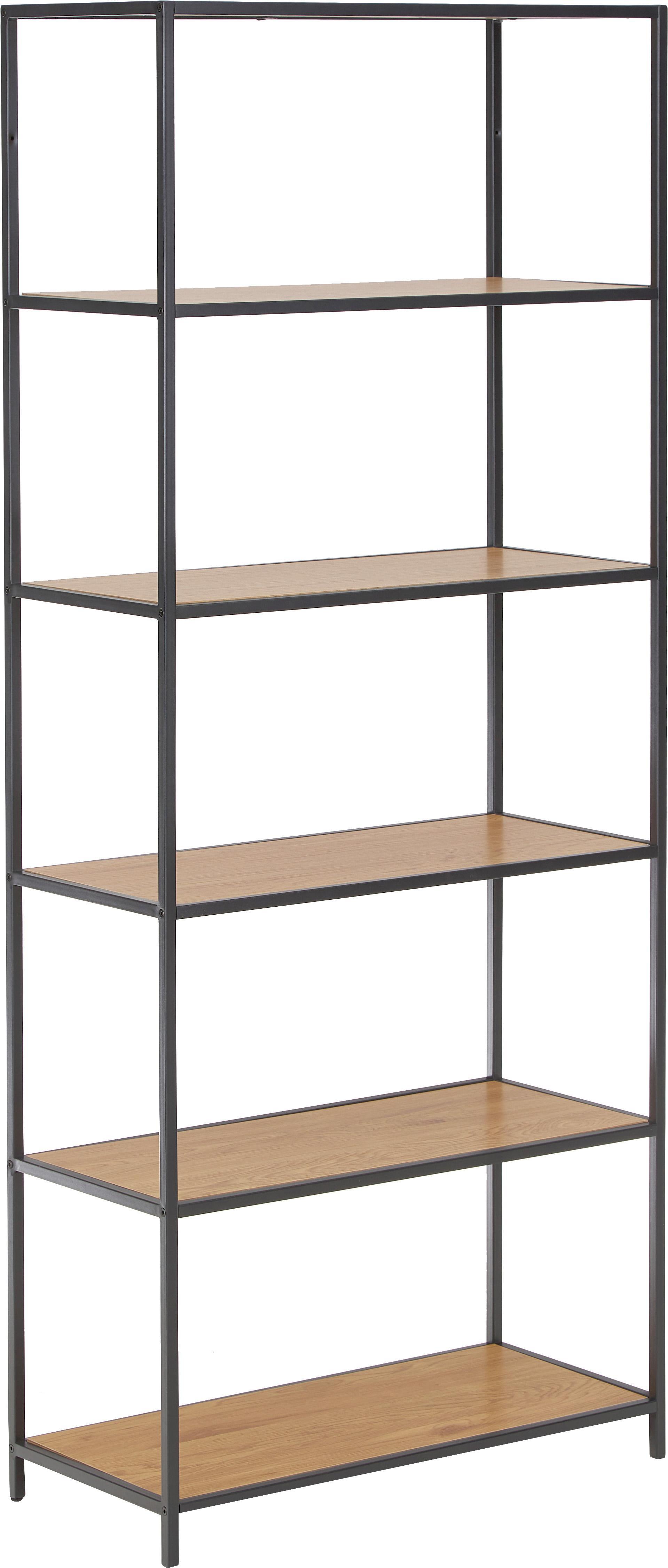 Hoge wandrek Seaford van hout en metaal, Frame: gepoedercoat metaal, Planken: wild eikenhout. Frame: zwart, 77 x 185 cm