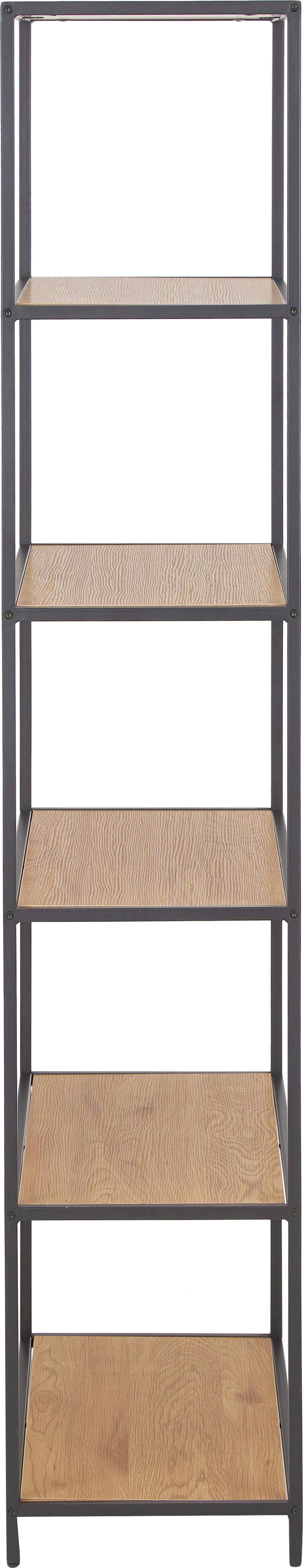 Estantería alta Seaford, Estantes: tablero de fibras de dens, Estructura: metal, pintura en polvo, Estantes: roble Estructura: negro, An 77 x Al 185 cm