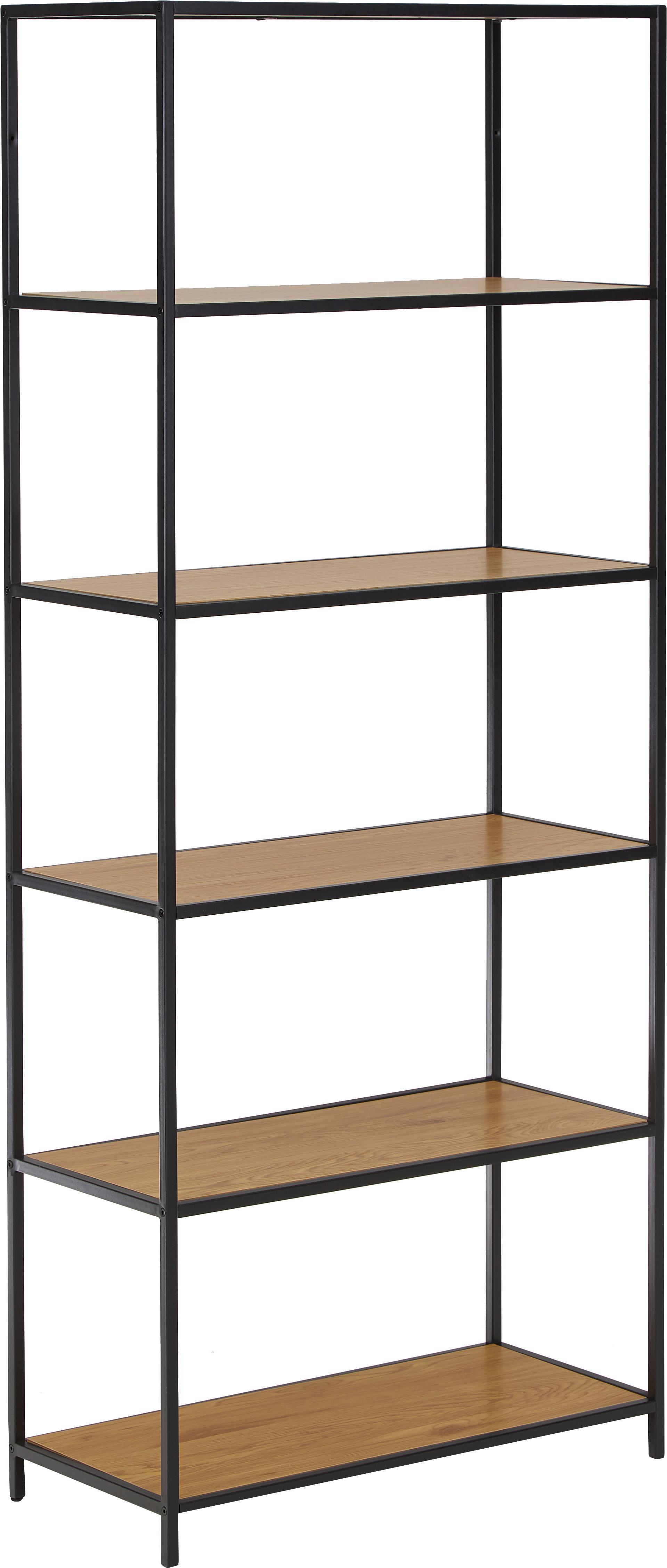 Libreria in legno e metallo Seaford, Ripiani: pannello di fibra a media, Struttura: metallo verniciato a polv, Ripiani: quercia selvatica Struttura: nero, Larg. 77 x Alt. 185 cm