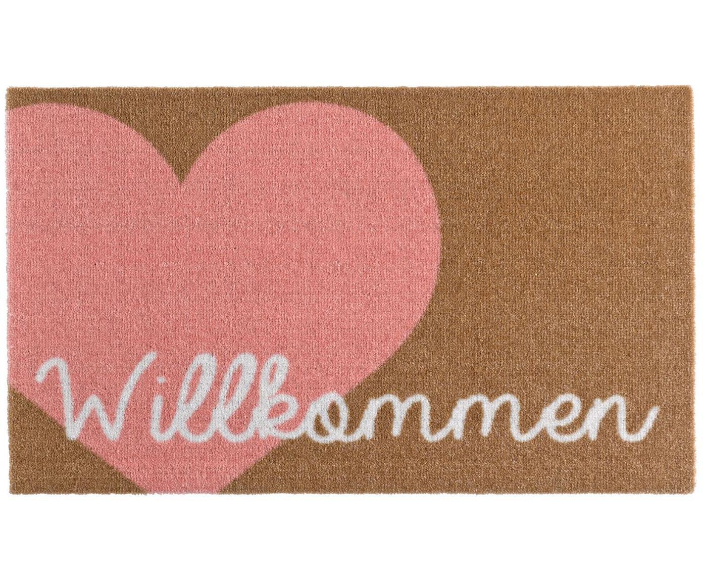 Polyamide deurmat Heart, Bovenzijde: polyamide, Onderzijde: PVC, Roze, bruin, wit, 50 x 70 cm