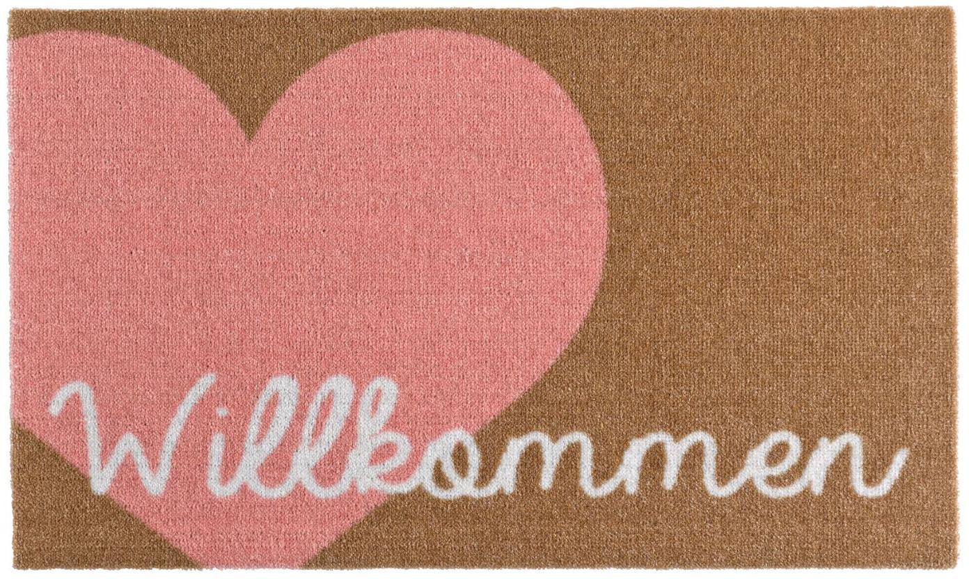 Polyamide deurmat Heart, Bovenzijde: 100% polyamide, Onderzijde: PVC, Roze, bruin, wit, 50 x 70 cm