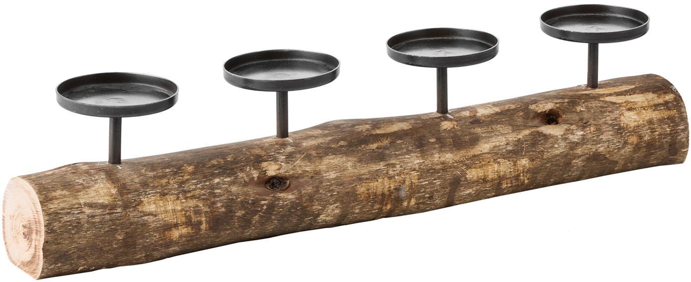 Kandelaar Foursome, Metaal, hout, Bruin, zwart, H 12 cm