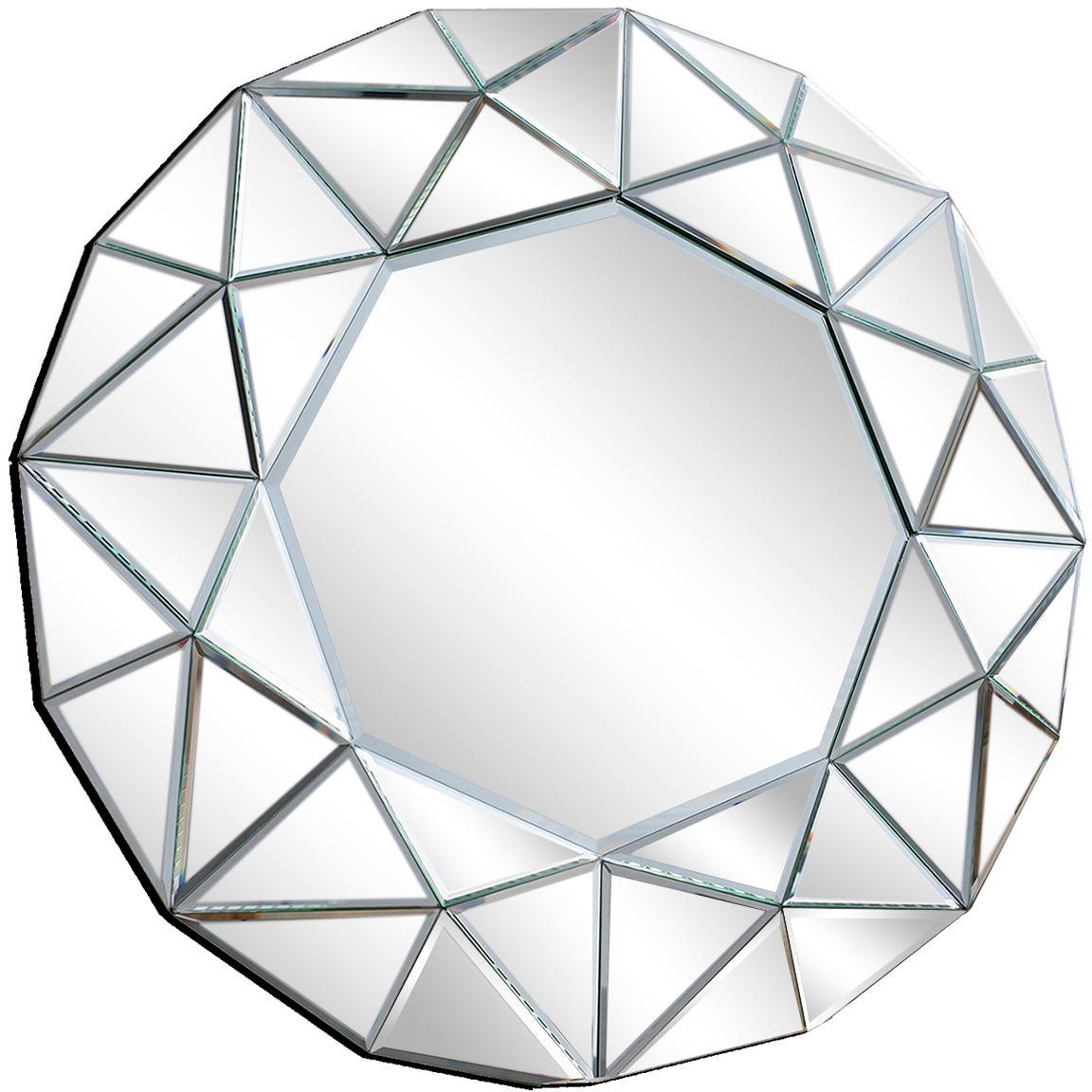 Espejo de pared Zaragoza, con marco de espejos, Reverso: tablero de fibras de dens, Espejo de cristal, Ø 70 x F 5 cm
