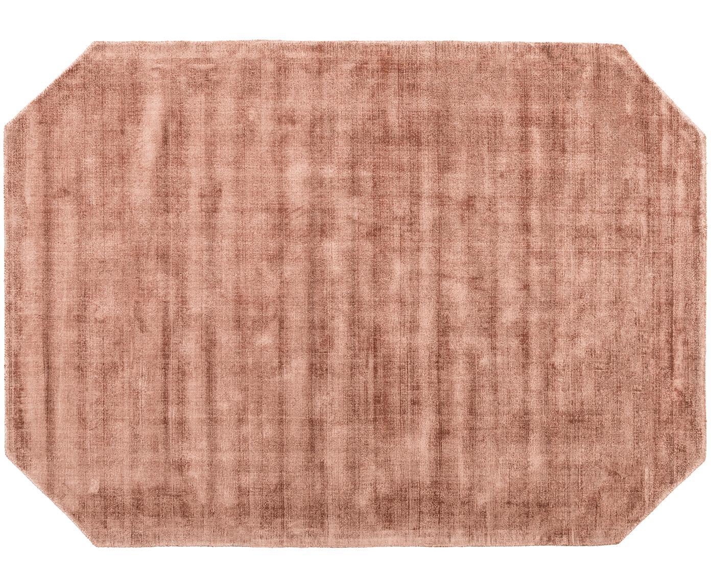 Viscose vloerkleed Jane Diamond, Bovenzijde: 100% viscose, Onderzijde: 100% katoen, Terracottakleurig, 160 x 230 cm