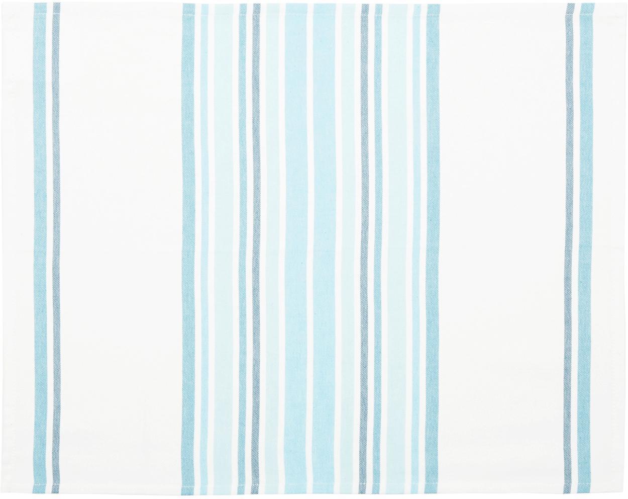 Tischsets Katie, 2 Stück, Baumwolle, Weiß, Blau, 40 x 50 cm
