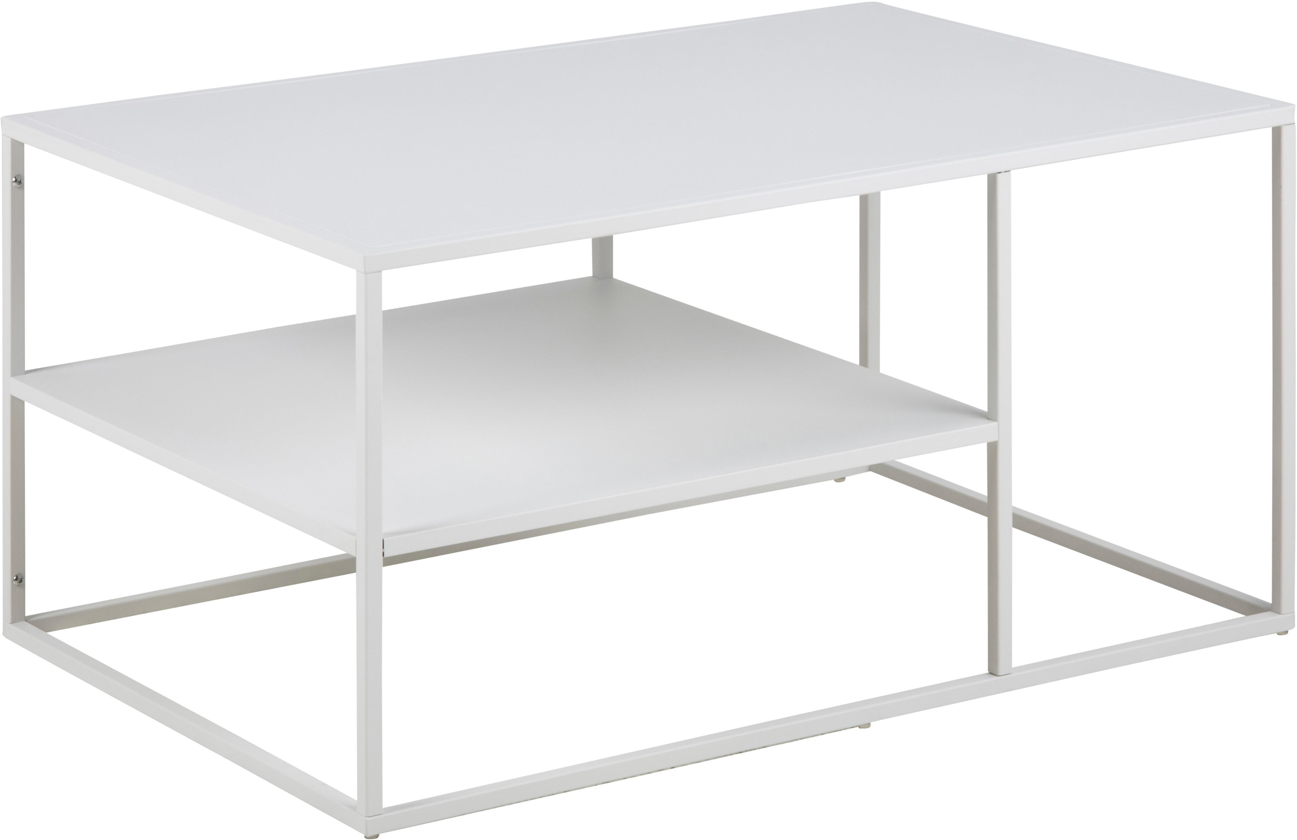 Metall-Couchtisch Newton in Weiß, Metall, pulverbeschichtet, Weiß, 90 x 45 cm