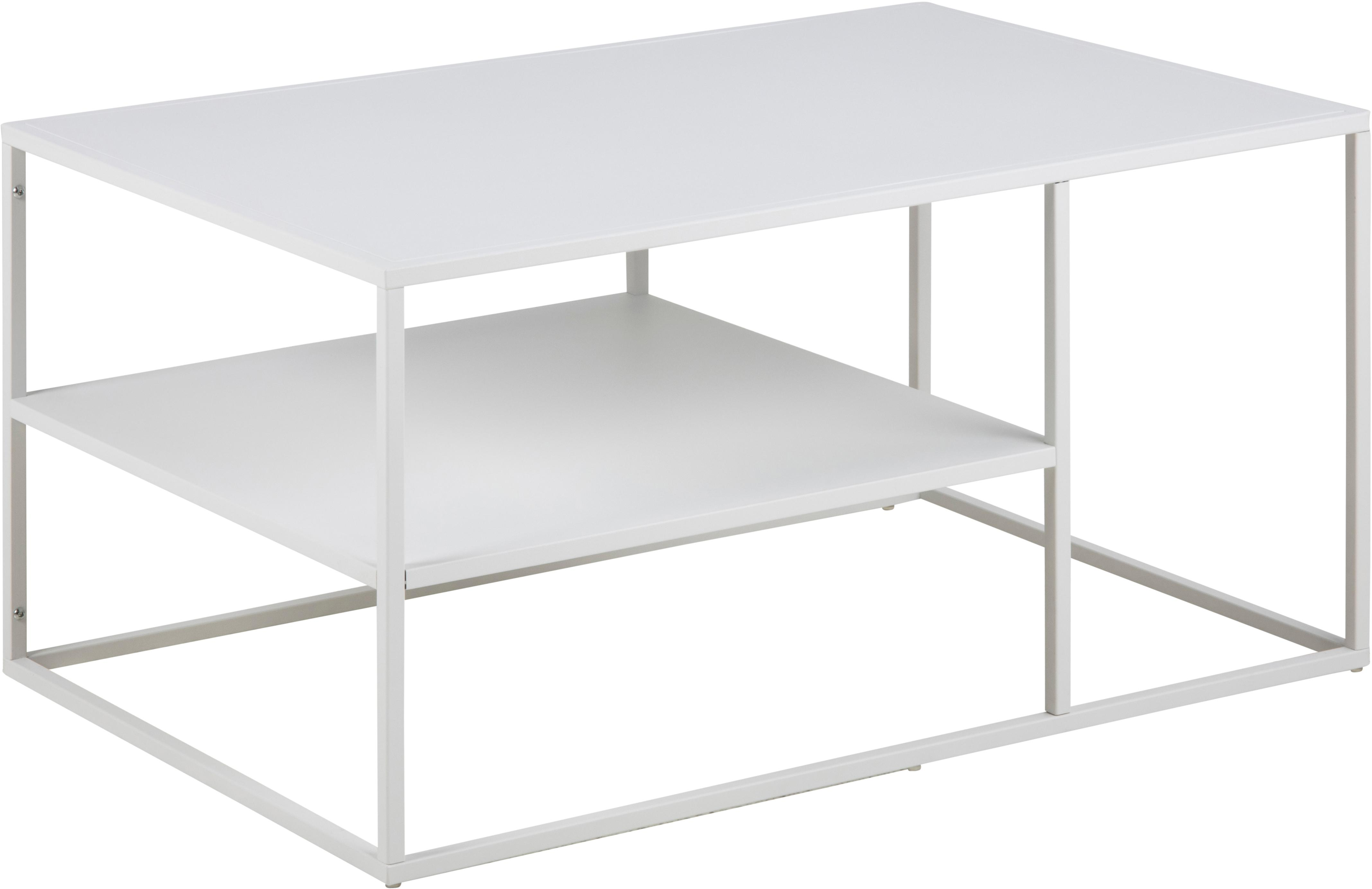 Tavolino da salotto con piano d'appoggio Newton, Metallo verniciato a polvere, Bianco, Larg. 90 x Alt. 45 cm