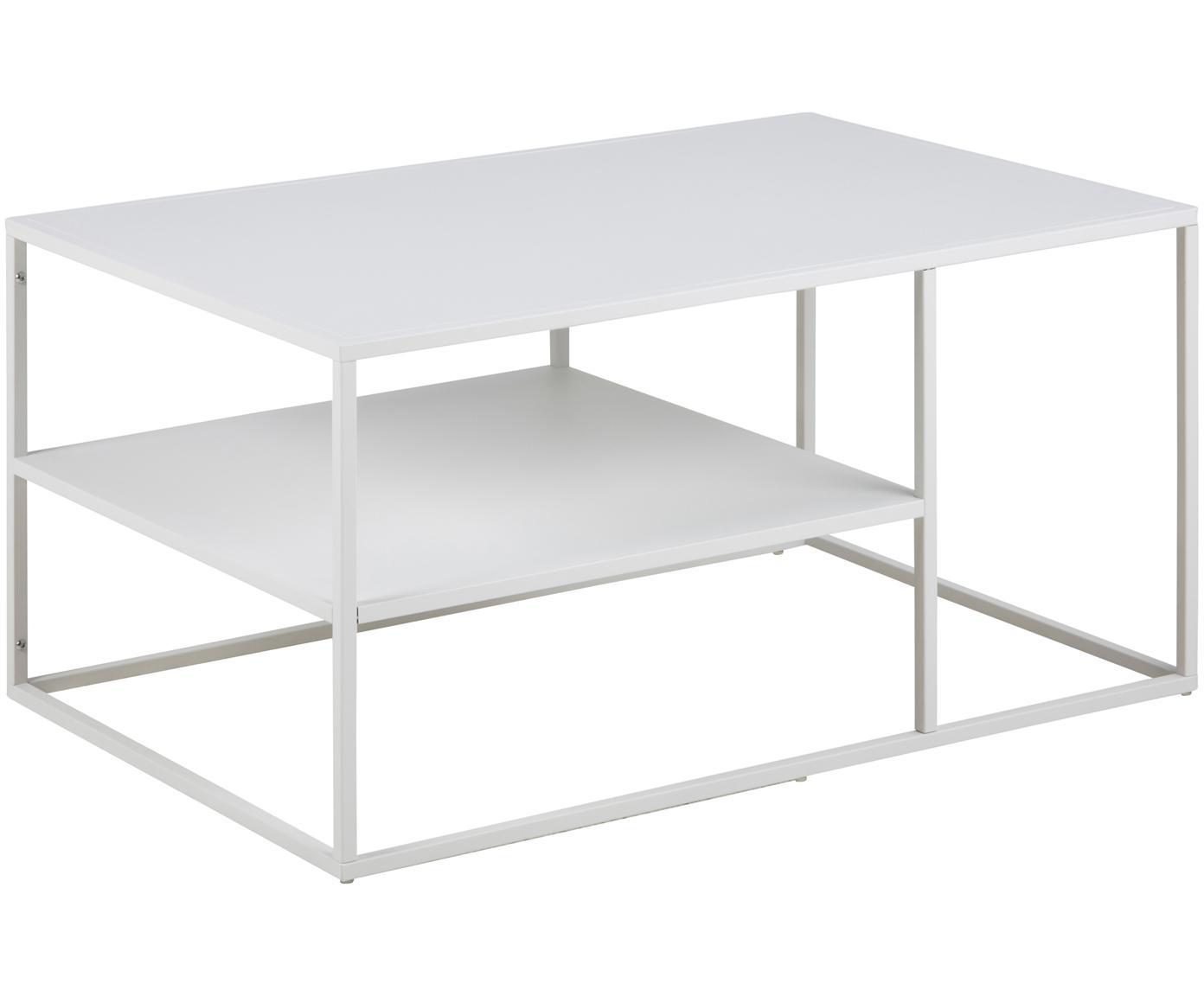 Tavolino da salotto con piano d'appoggio Newton, Metallo verniciato a polvere, Bianco, Larg. 90 x Prof. 60 cm