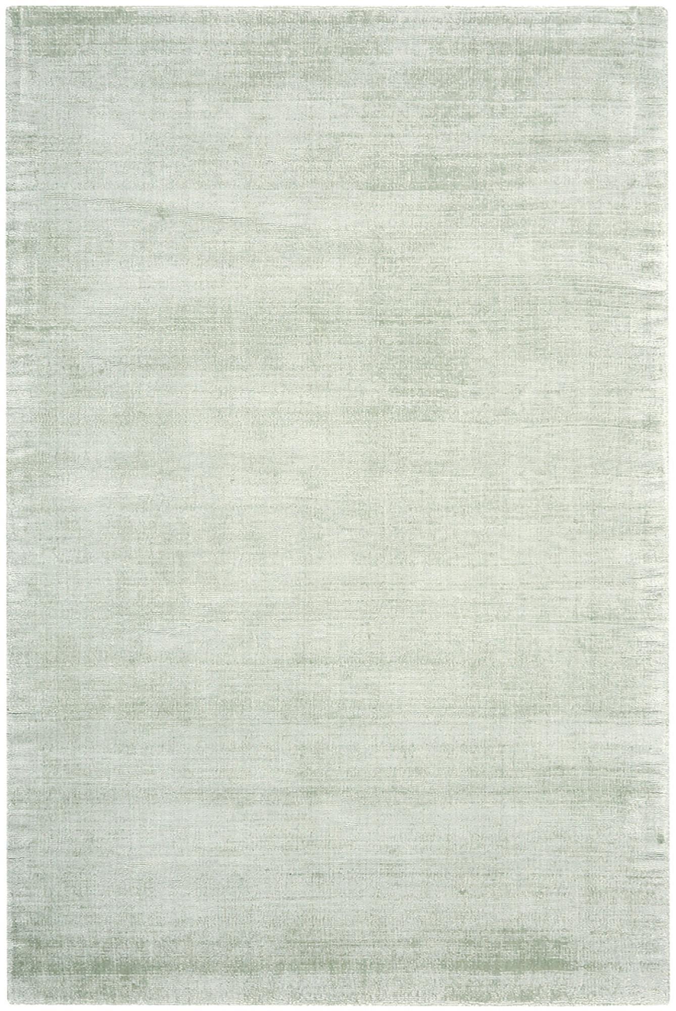 Alfombra artesanal de viscosa Jane, Parte superior: 100%viscosa, Reverso: 100%algodón, Verde claro, An 120 x L 180 cm (Tamaño S)