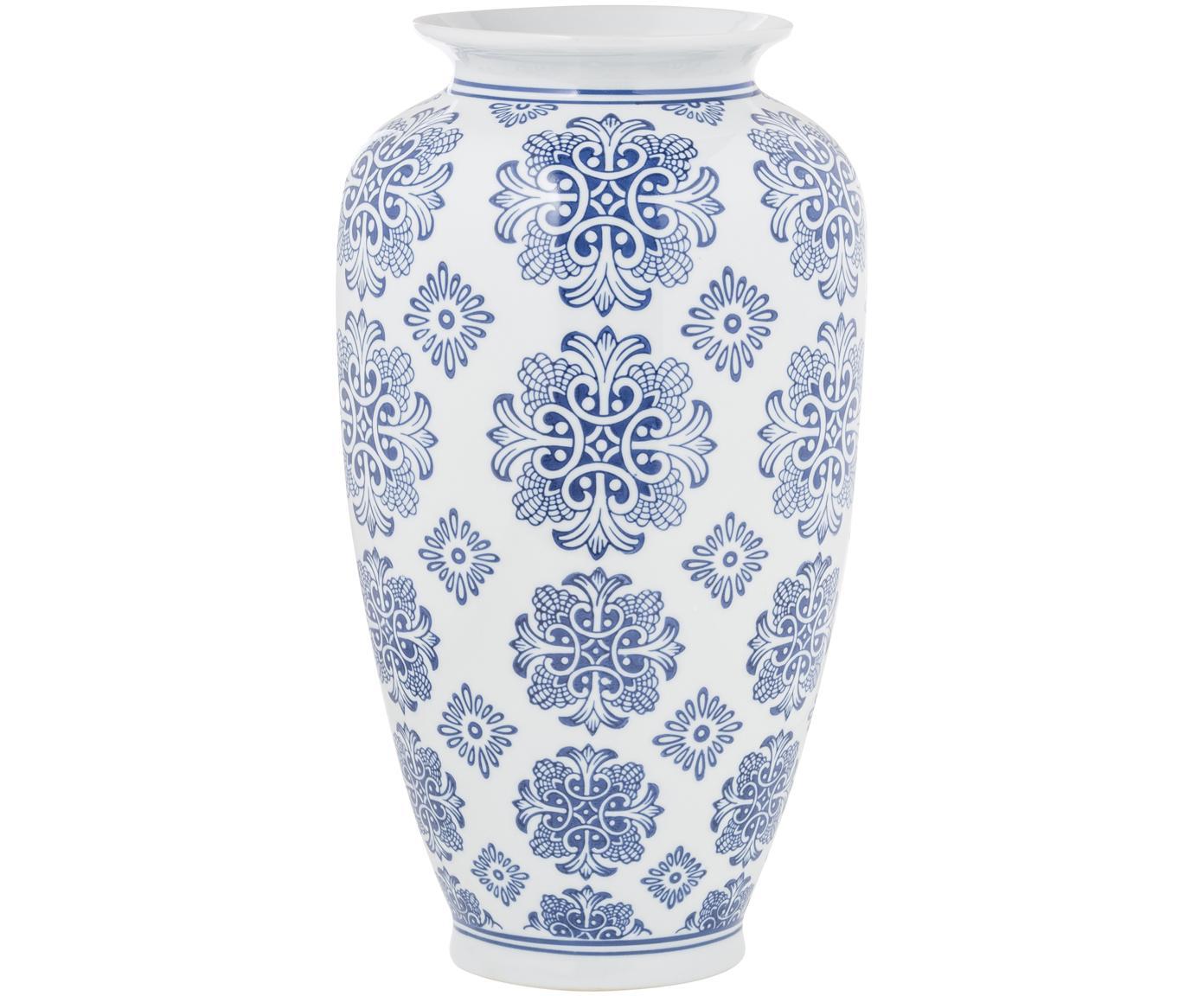 Duży wazon z ceramiki Sara, Ceramika, Niebieski, biały, Ø 18 x W 36 cm