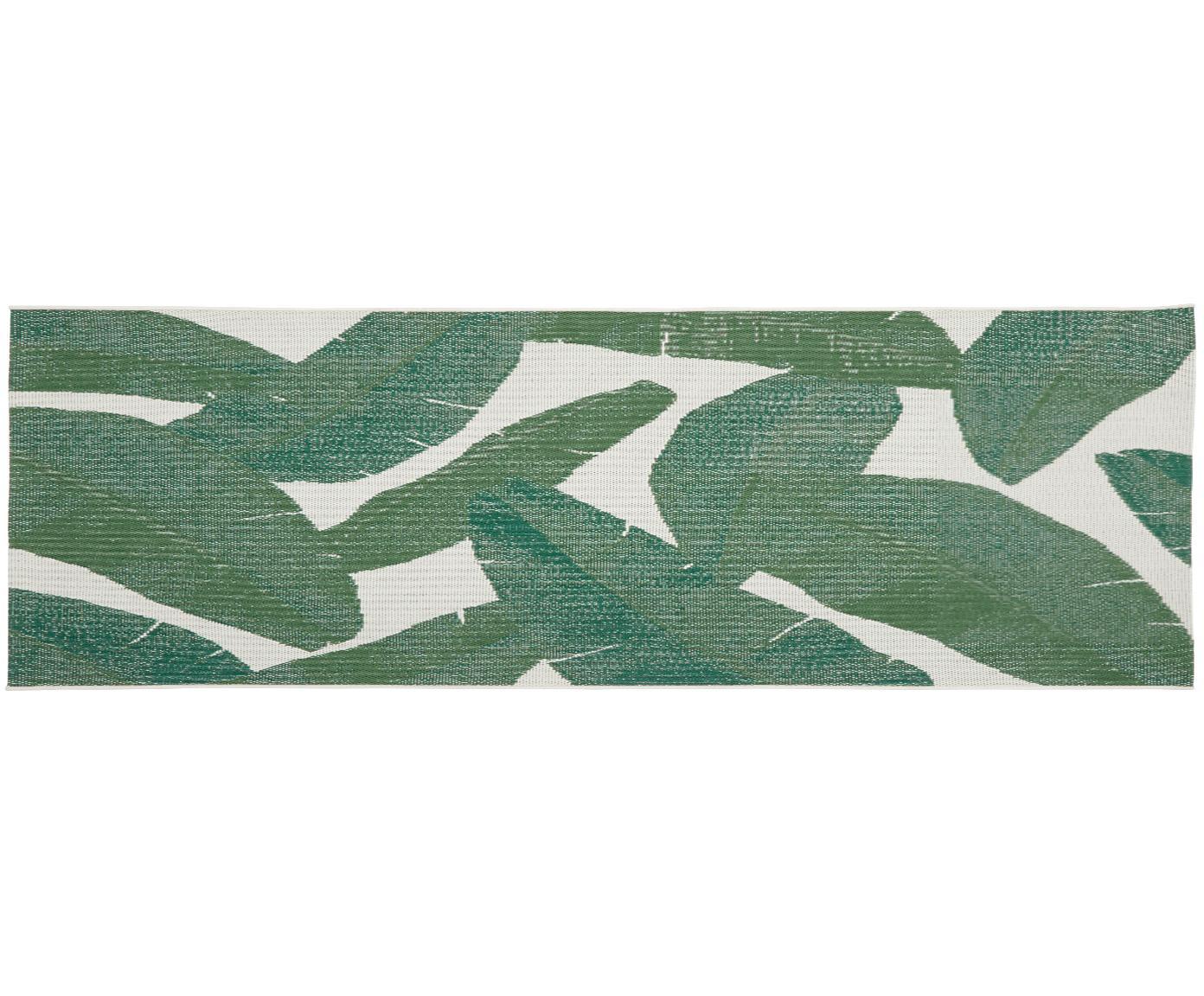 In- & outdoor loper Jungle, Bovenzijde: polypropyleen, Onderzijde: polyester, Crèmewit, groen, 80 x 250 cm