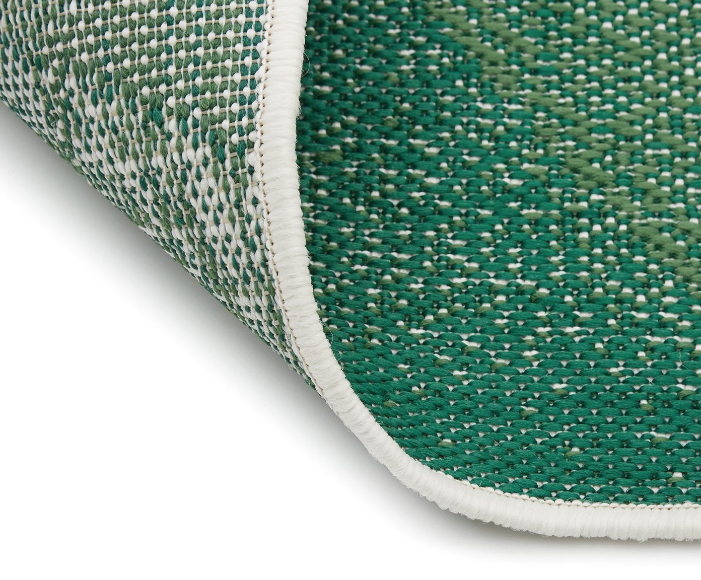 Passatoia da interno-esterno Jungle, Retro: poliestere, Bianco crema, verde, Larg. 80 x Lung. 250 cm