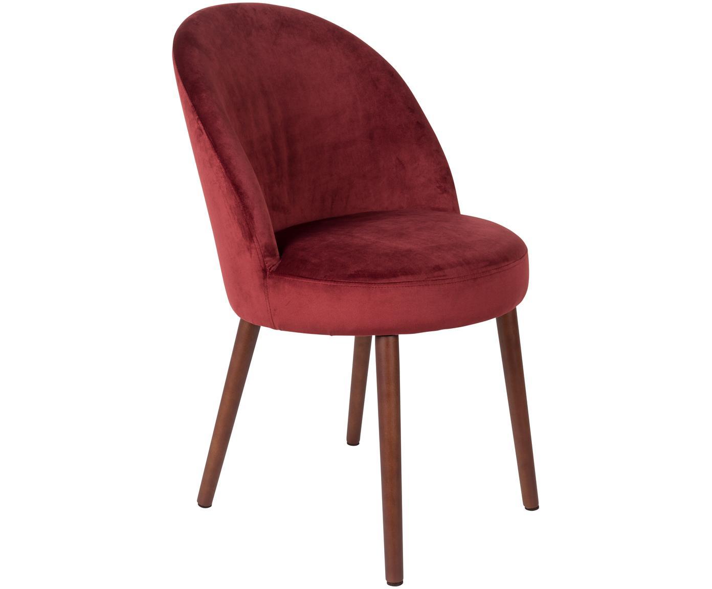 Fluwelen stoel Barbara, Bekleding: 100% polyester fluweel, Poten: gelakt beukenhout, Bekleding: rood. Poten: walnootbruin, 51 x 86 cm
