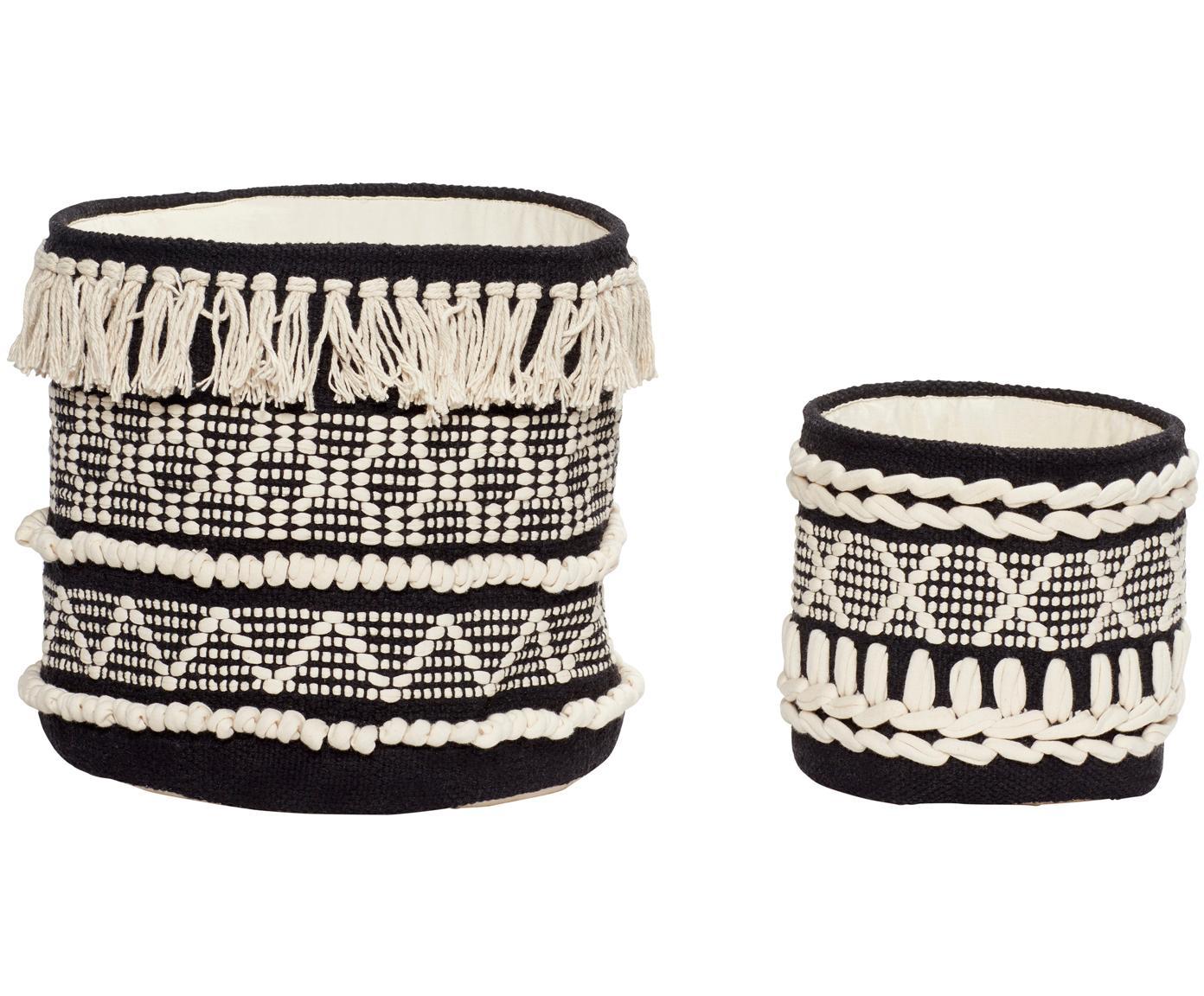 Komplet koszy do przechowywania Pique, 2 elem., Bawełna, Kosze: czarny Szczegóły i frędzle: biały, Różne rozmiary