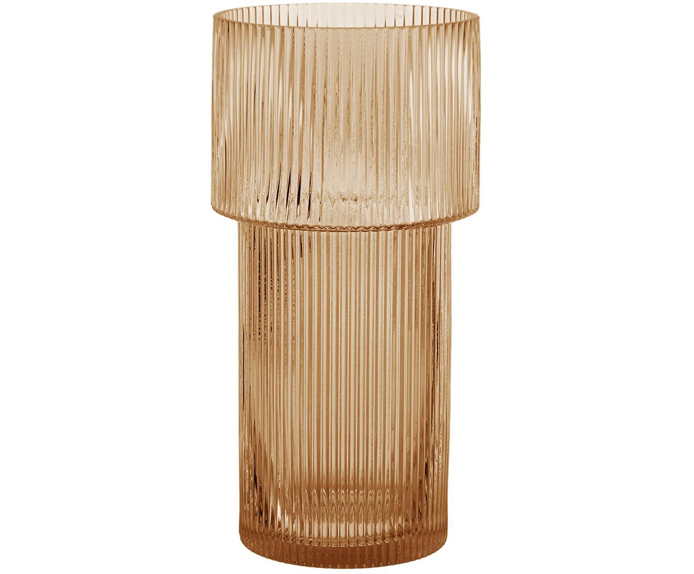 Vaas Lija, Glas, Amberkleurig, transparant, Ø 14 x H 30 cm