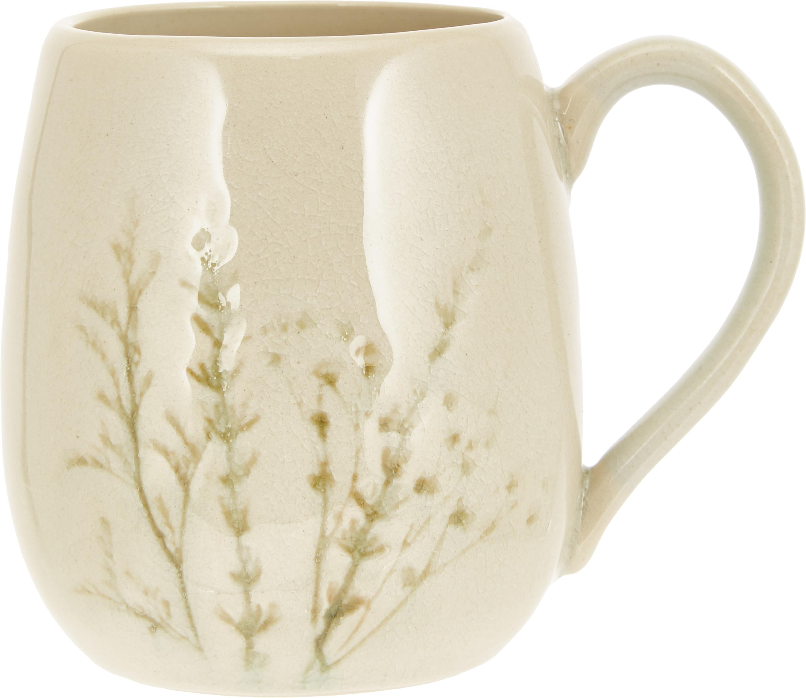 Handgemachte Tasse Bea mit Gräser-Motiv, Steingut, Beige, Mehrfarbig, Ø 10 x H 11 cm
