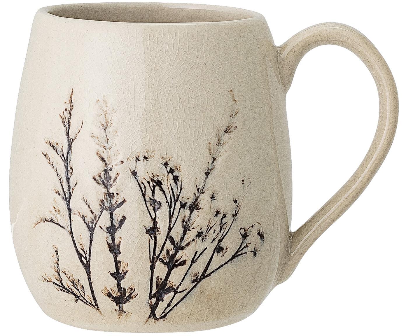 Handgefertigte Tasse Bea mit Gräser-Motiv, Steingut, Beige, Mehrfarbig, Ø 10 x H 11 cm
