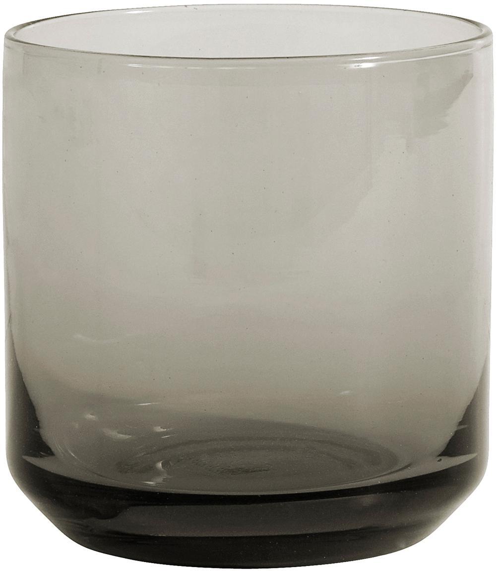 Mundgeblasene Wassergläser Retro in Grau, 6er-Set, Glas, Rauchgrau, leicht transparent, Ø 8 x H 8 cm