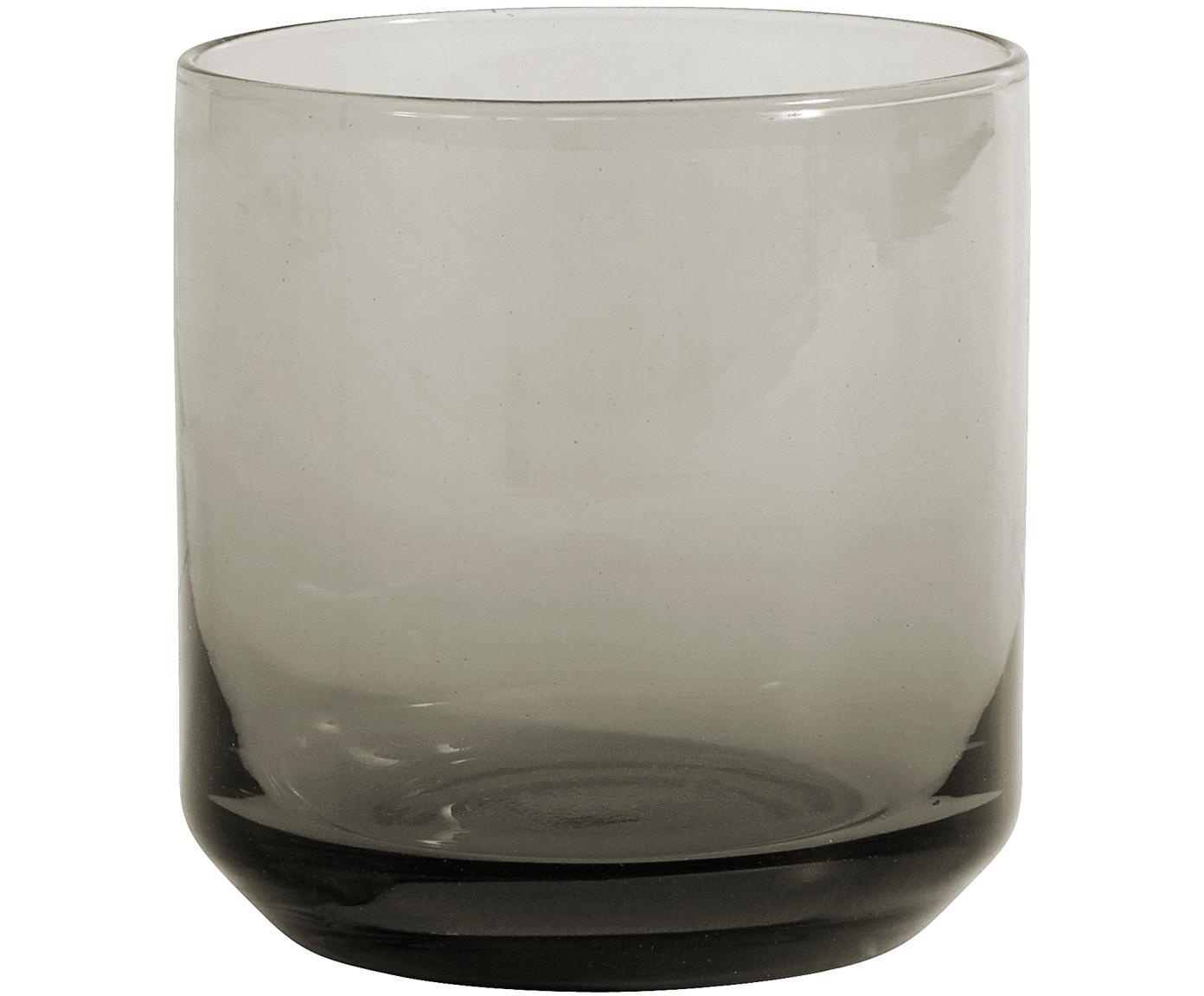 Mondgeblazen waterglazen Retro in grijs, 6 stuks, Glas, Fumé, licht transparant, Ø 8 x H 8 cm