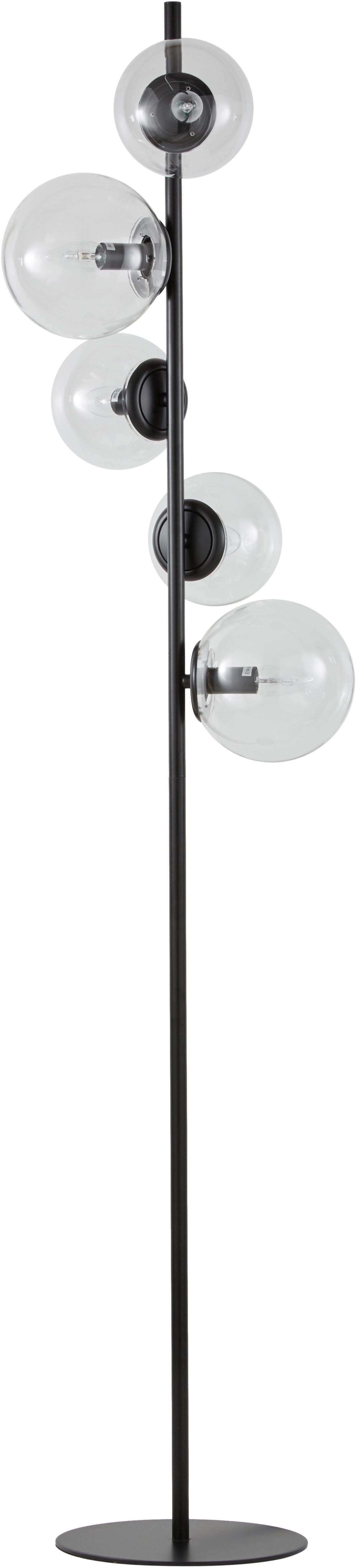Lámpara de pie Casey, estilo industrial, Cable: cubierto en tela, Negro, Al 170 cm