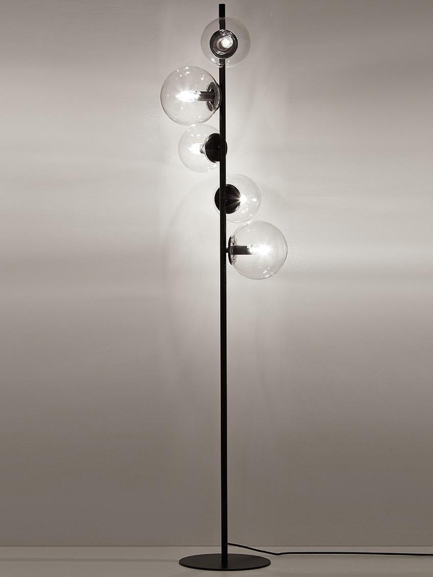 Lampada da terra Casey, Base della lampada: metallo verniciato a polv, Paralume: vetro, Nero, Alt. 170 cm