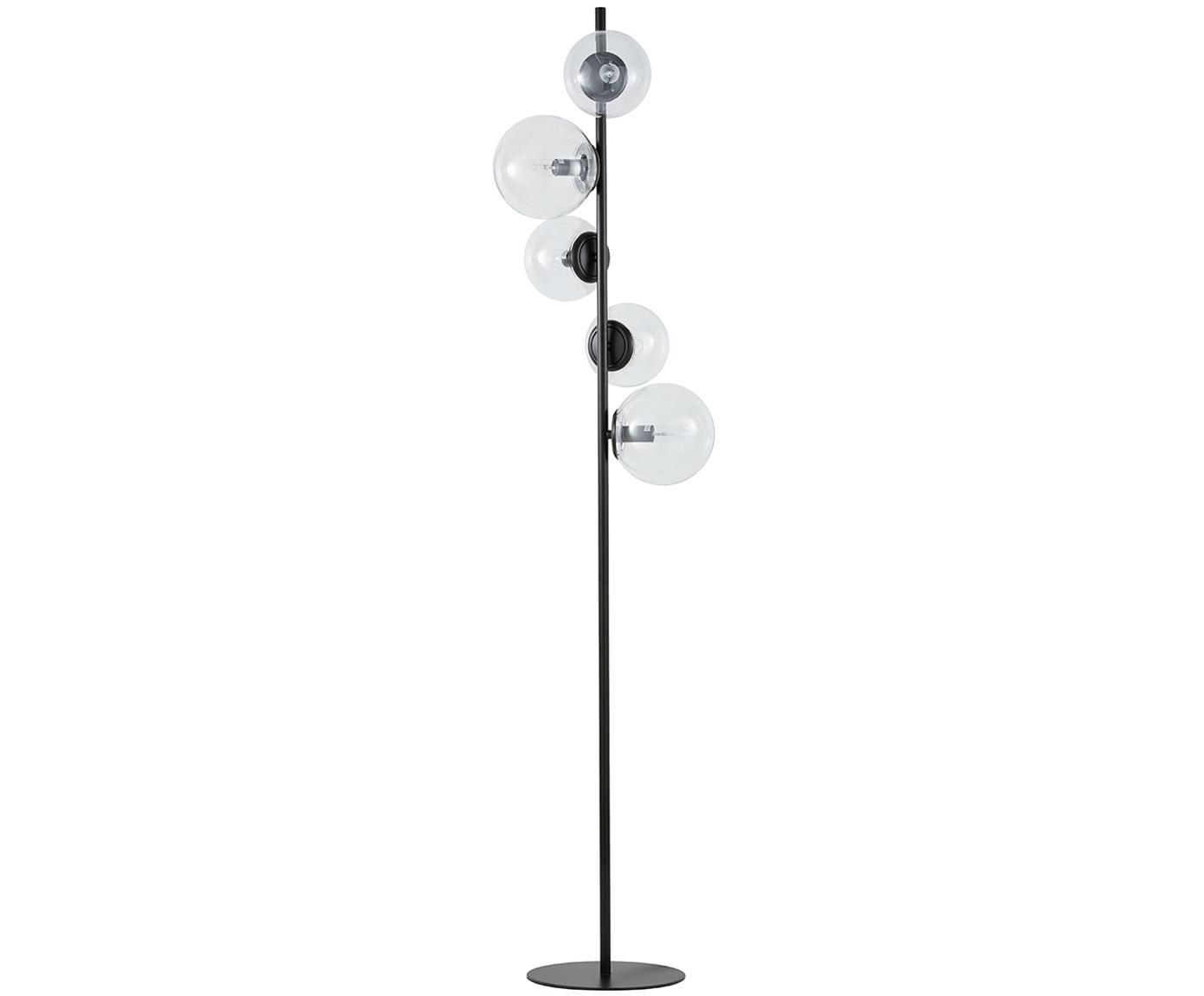 Lámpara de pie Casey, Cable: cubierto en tela, Negro, Al 170 cm