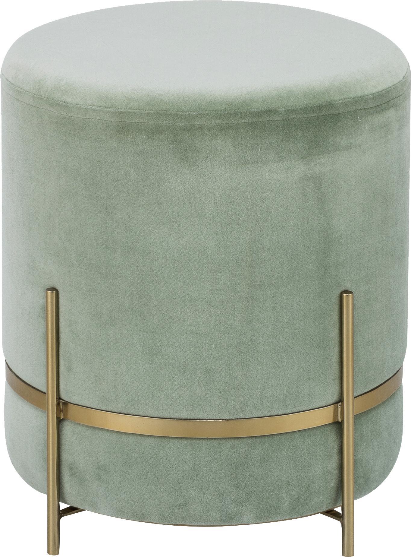 Samt-Hocker Haven, Bezug: Baumwollsamt, Fuß: Metall, pulverbeschichtet, Salbeigrün, Goldfarben, ∅ 38 x H 45 cm