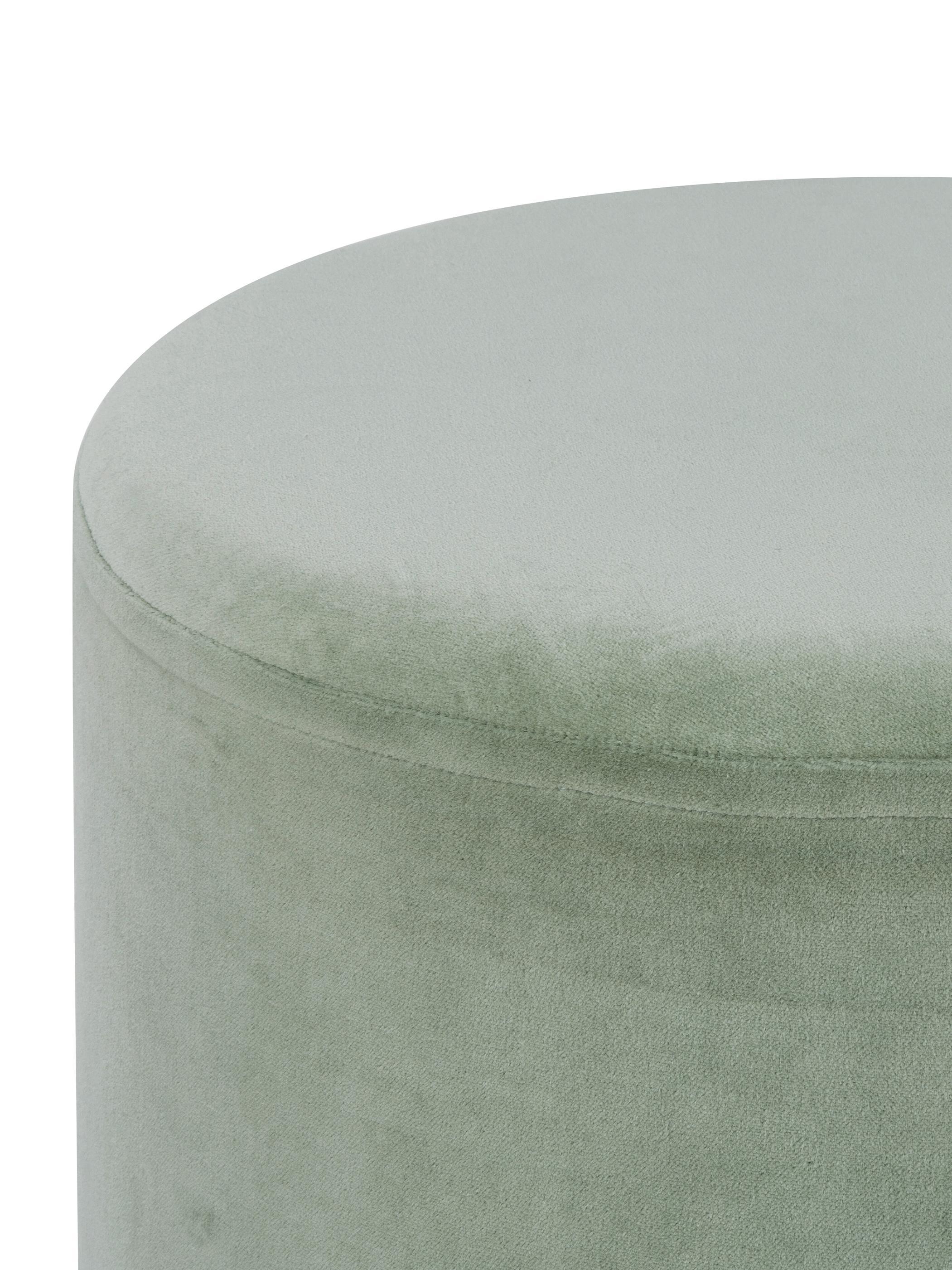 Puf z aksamitu Haven, Tapicerka: aksamit bawełniany, Szałwiowy zielony, odcienie złotego, ∅ 38 x W 45 cm