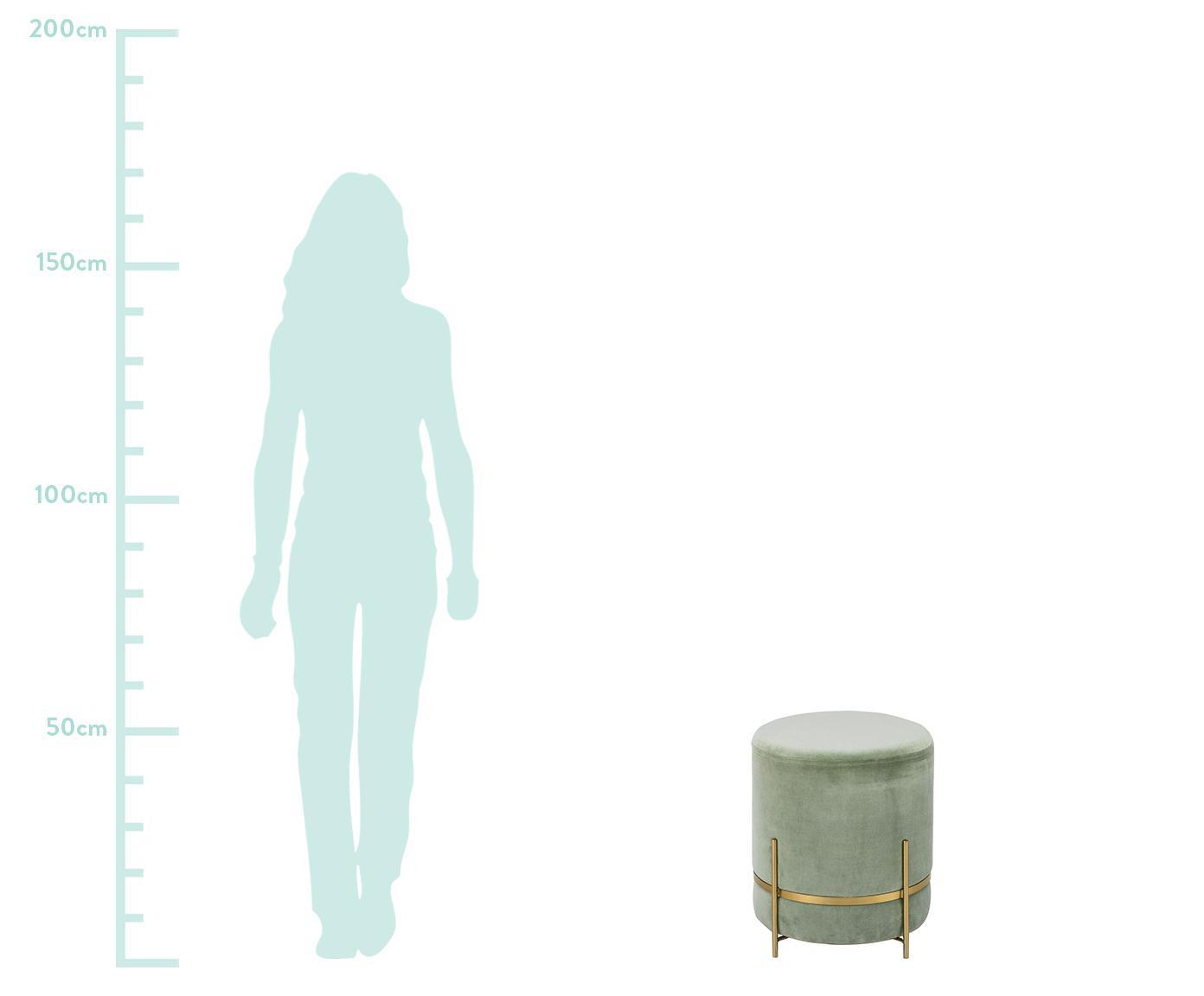Pouf in velluto Haven, Rivestimento: velluto, Verde salvia, dorato, Ø 38 x A 45 cm