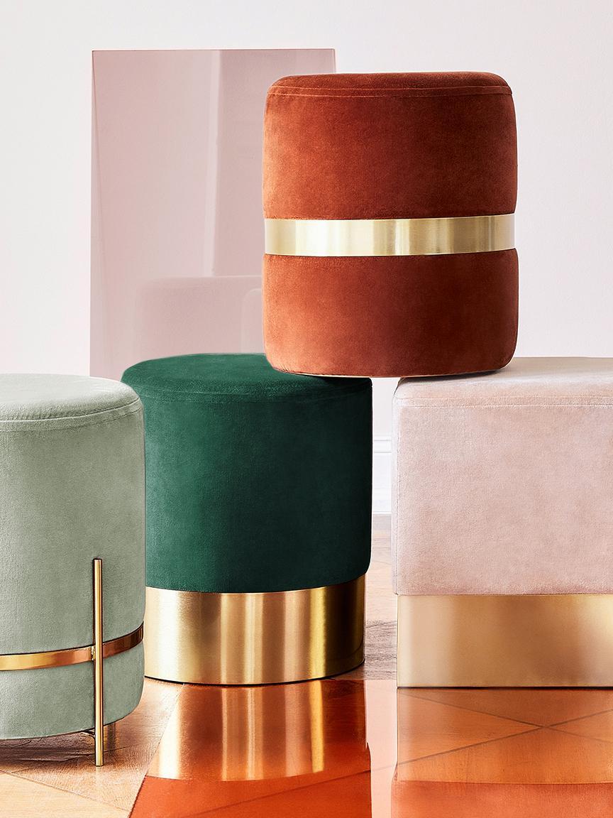 Puf de terciopelo Haven, Tapizado: terciopelo de algodón, Patas: metal con pintura en polv, Verde salvia, dorado, Ø 38 x Al 45 cm