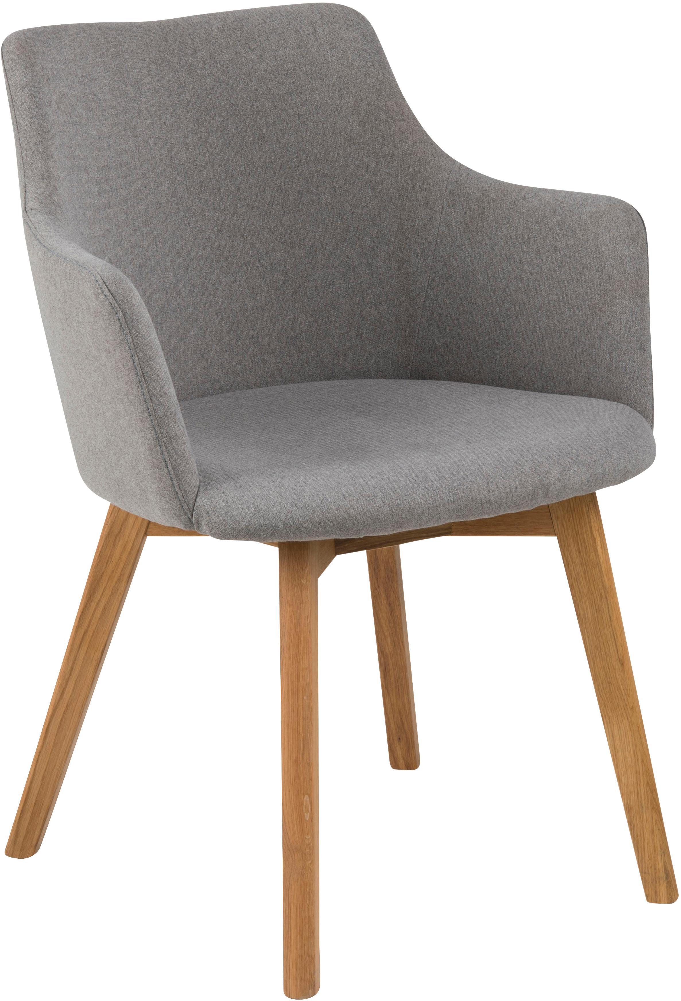 Armlehnstühle Granada im Skandi Design, 2 Stück, Bezug: Polyester 25.000 Scheuert, Beine: Eichenholz, geölt, Webstoff Hellgrau, B 62 x T 59 cm