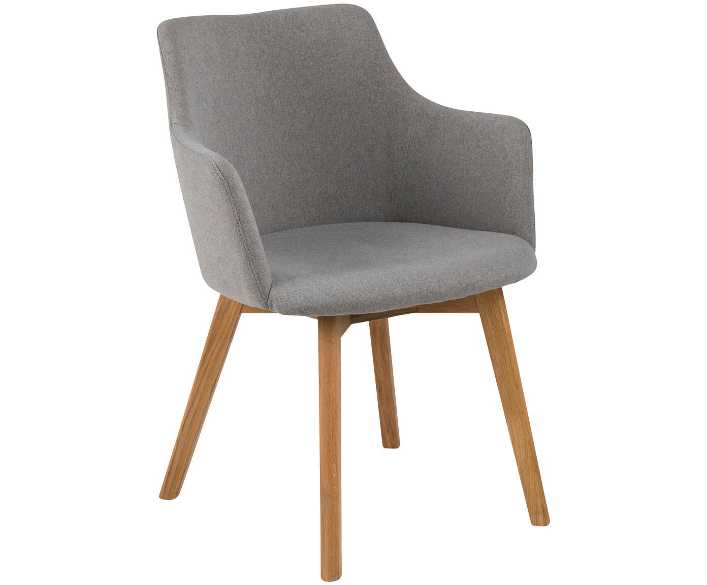 Krzesło z podłokietnikami Granada, 2 szt., Tapicerka: poliester 25000 cykli w , Nogi: drewno dębowe, olejowane, Jasny szary, S 62 x G 59 cm