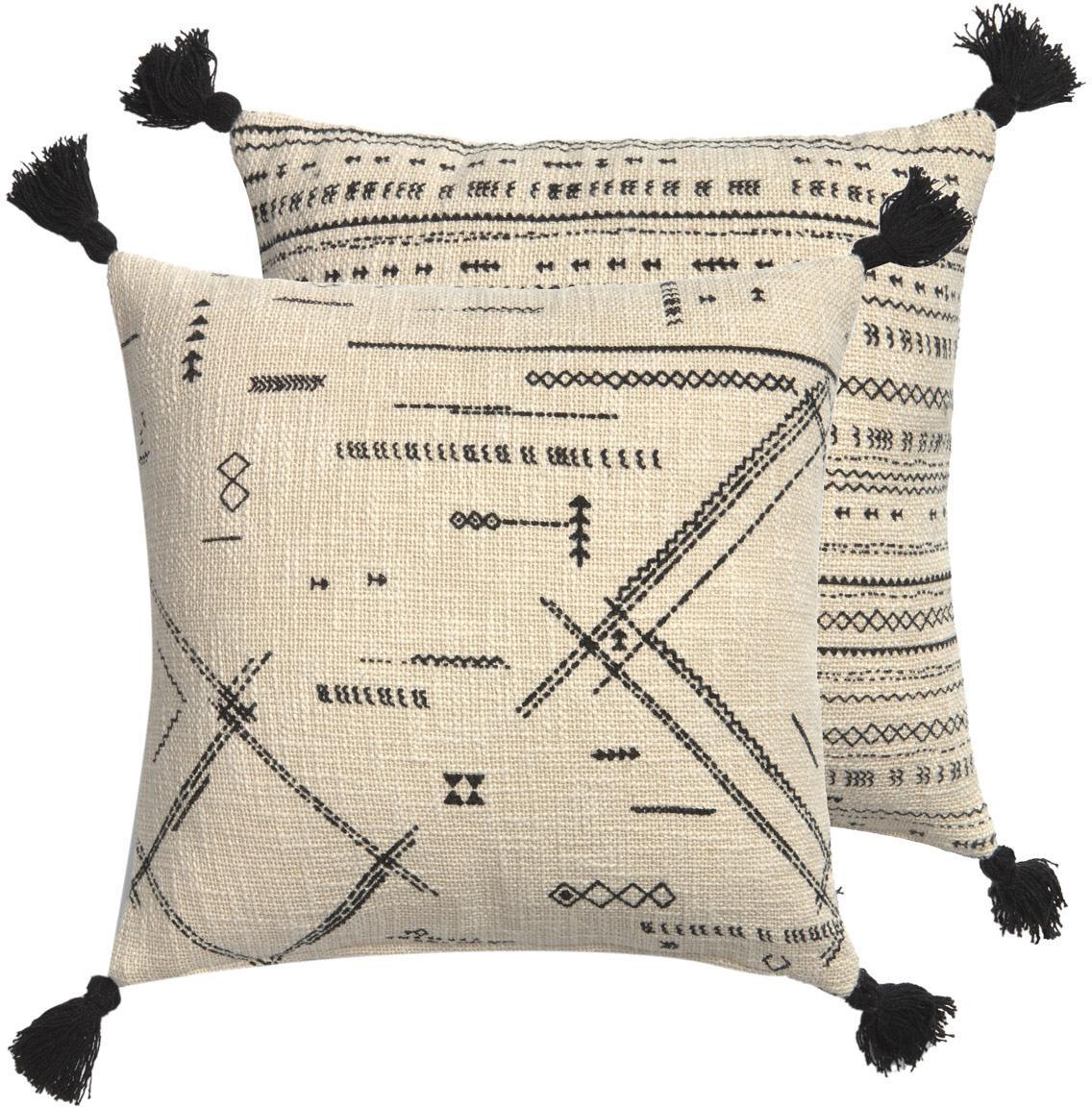 Funda de cojín con borlas Kertes, estilo boho, caras distantas, 100%algodón, Negro, An 45 x L 45 cm