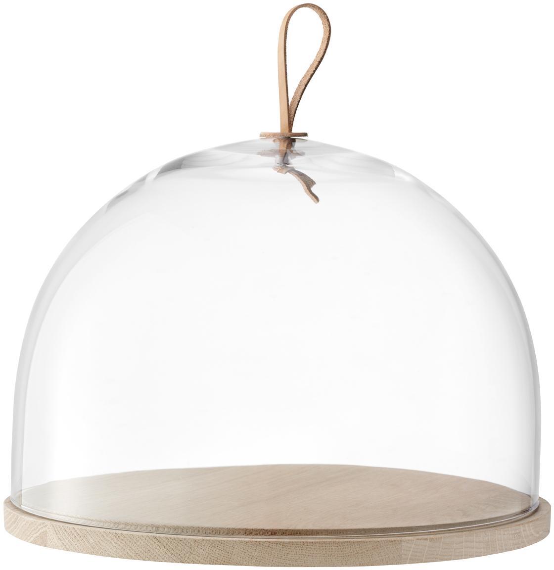 Mundgeblasene Cloche Ivalo, Glocke: Glas, Platte: Eschenholz, Henkel: Leder, Transparent, Braun, Ø 32 x H 23 cm