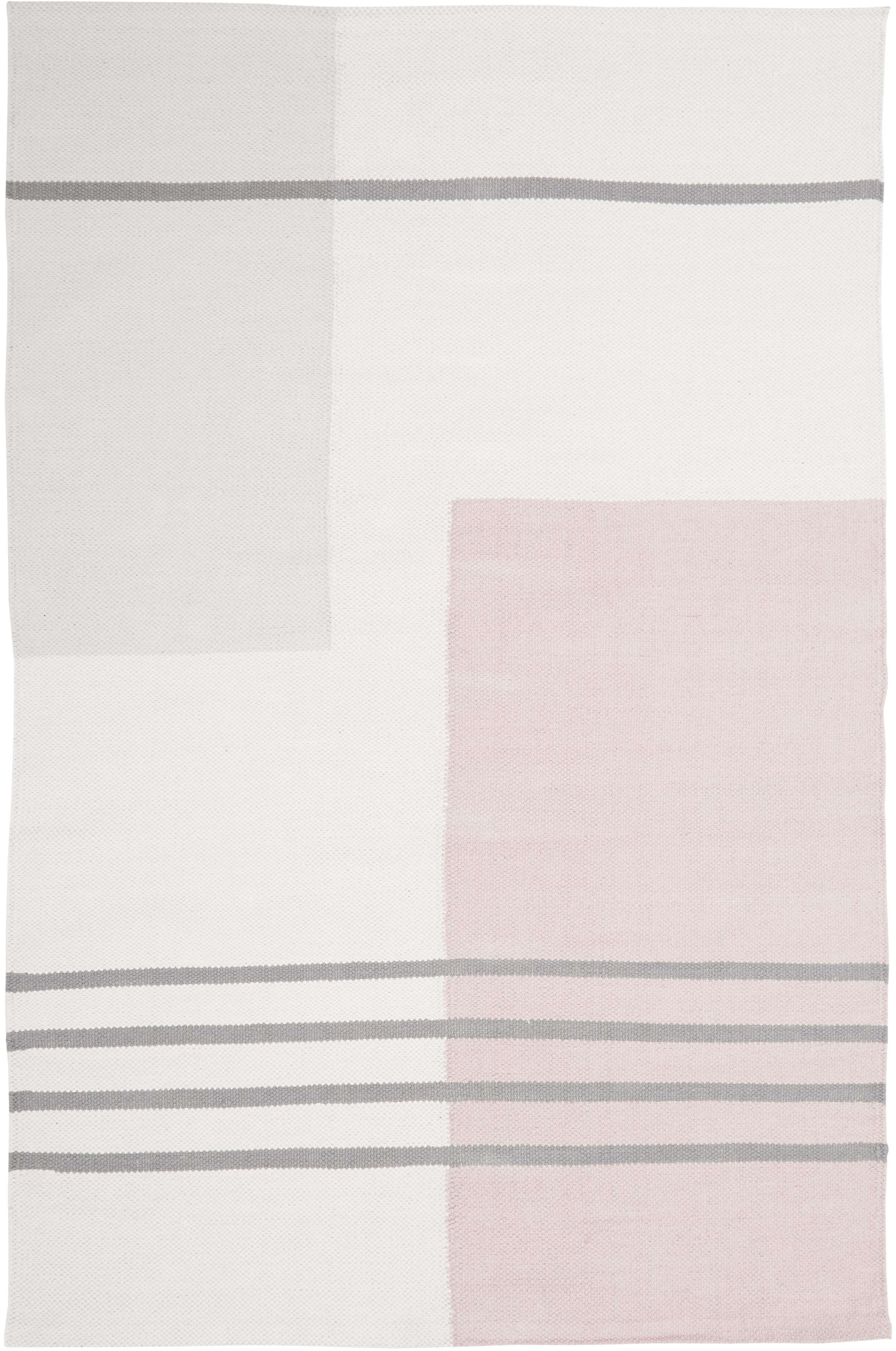 Flachgewebter Baumwollteppich Georgio mit grafischem Muster, 100% Baumwolle, Grau, Beige, Rosa, B 120 x L 180 cm (Größe S)