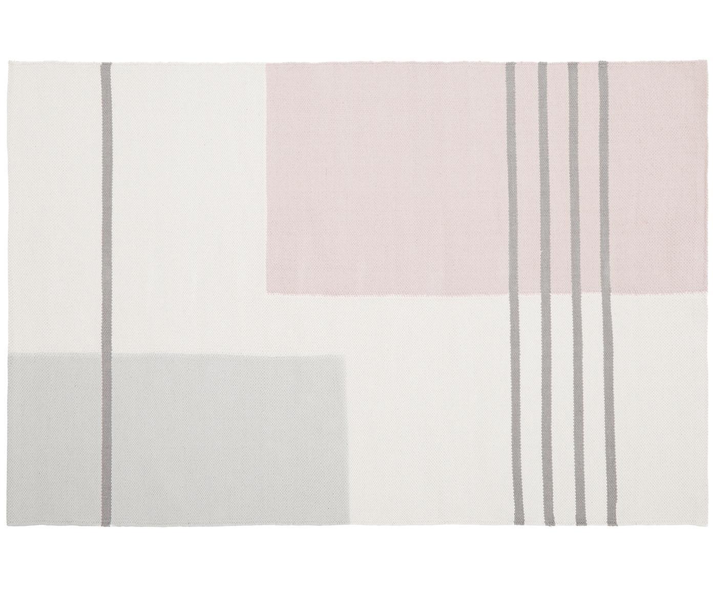 Vlak geweven katoenen vloerkleed Georgio met grafisch patroon, Katoen, Grijs, beige, roze, B 120 x L 180 cm (maat S)