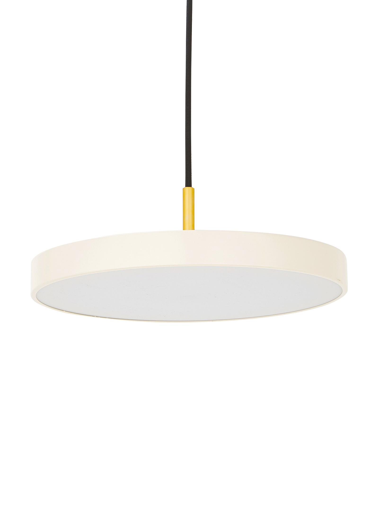Design LED Pendelleuchte Asteria, Lampenschirm: Aluminium, lackiert, Perlweiß, Goldfarben, Ø 31 x H 14 cm