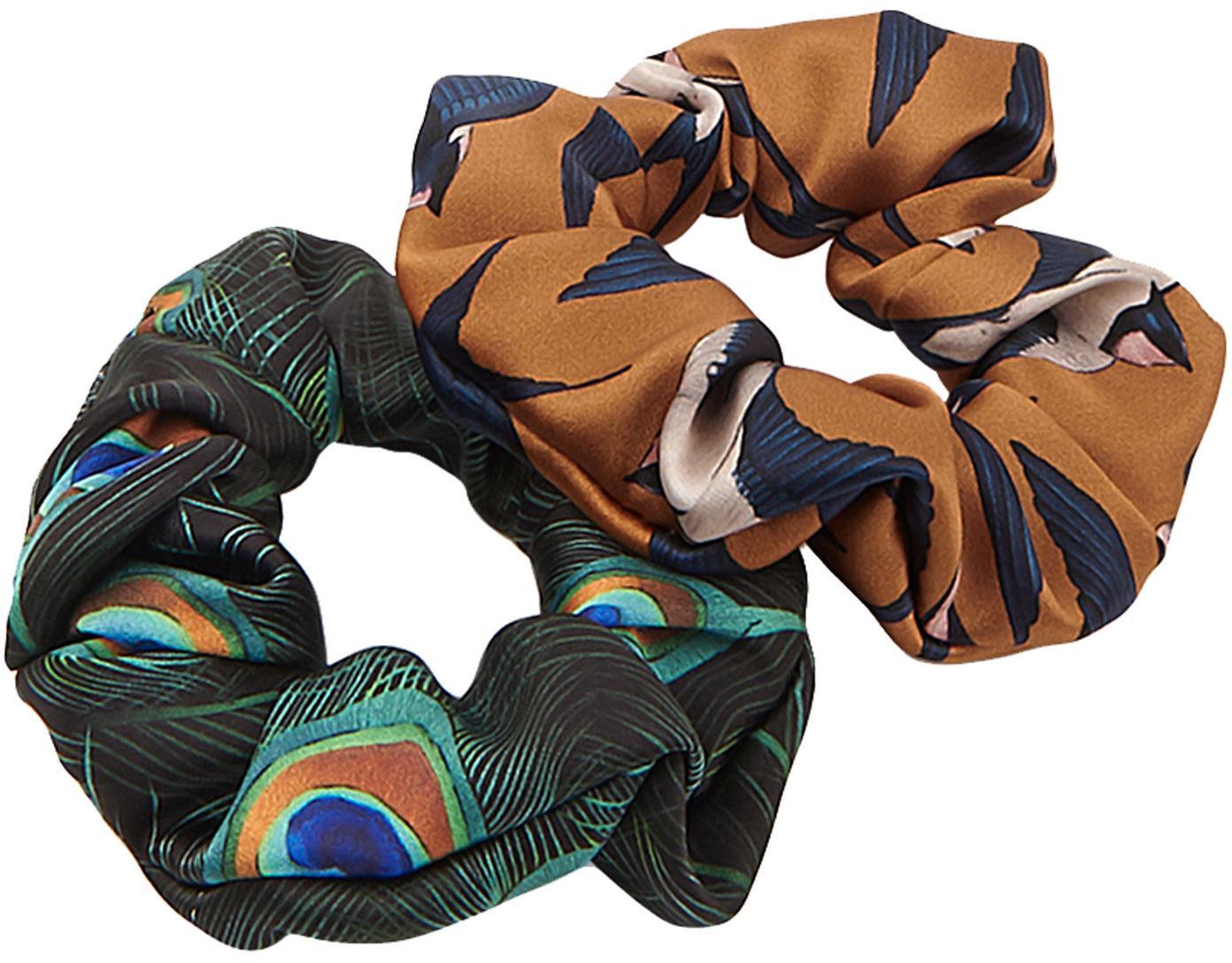 Set 2 scrunchies elastici per capelli Peacock & Swallow, Tessuto: raso, Multicolore, Ø 8 cm