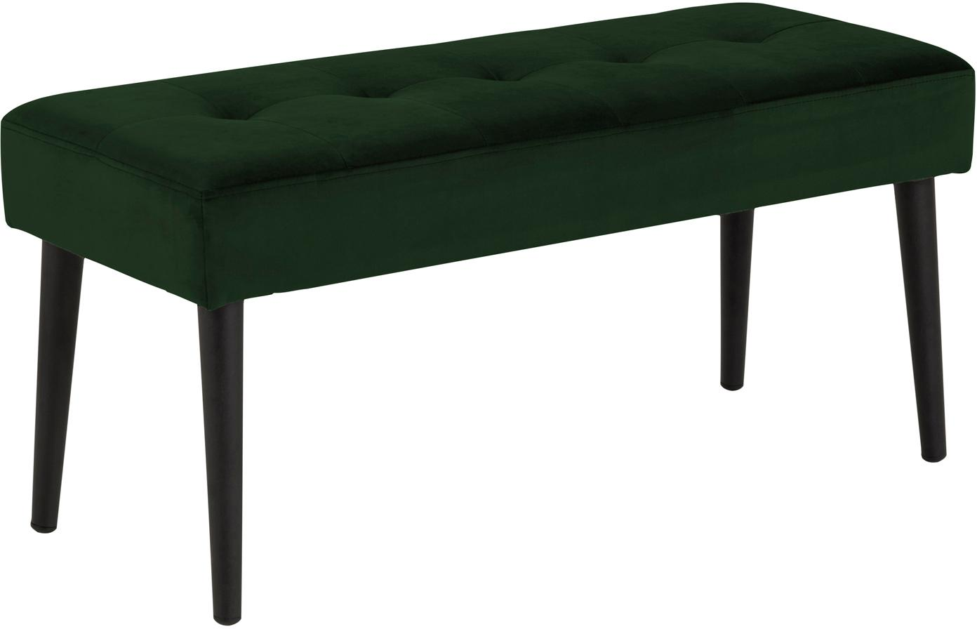 Banco de terciopelo Glory, Tapizado: terciopelo de poliéster 2, Estructura: metal con pintura en polv, Verde oscuro, An 95 x Al 45 cm