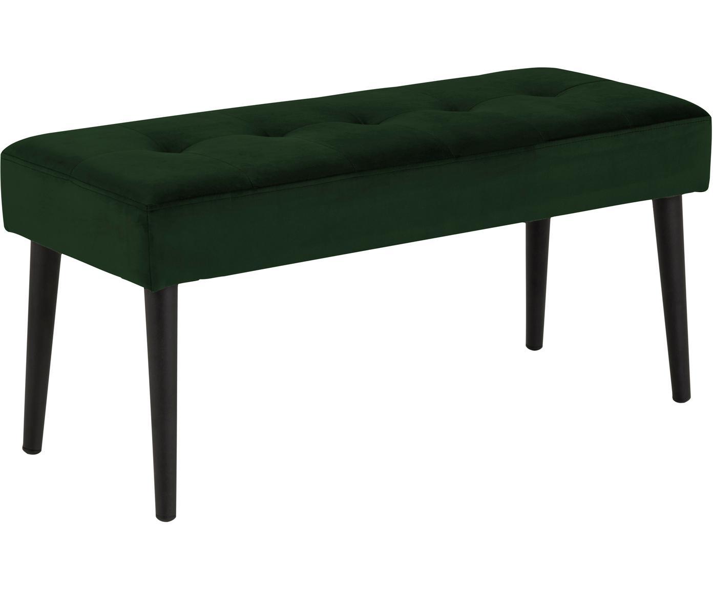 Samt-Sitzbank Glory, Bezug: Polyestersamt 25.000 Sche, Gestell: Metall, pulverbeschichtet, Dunkelgrün, 95 x 45 cm